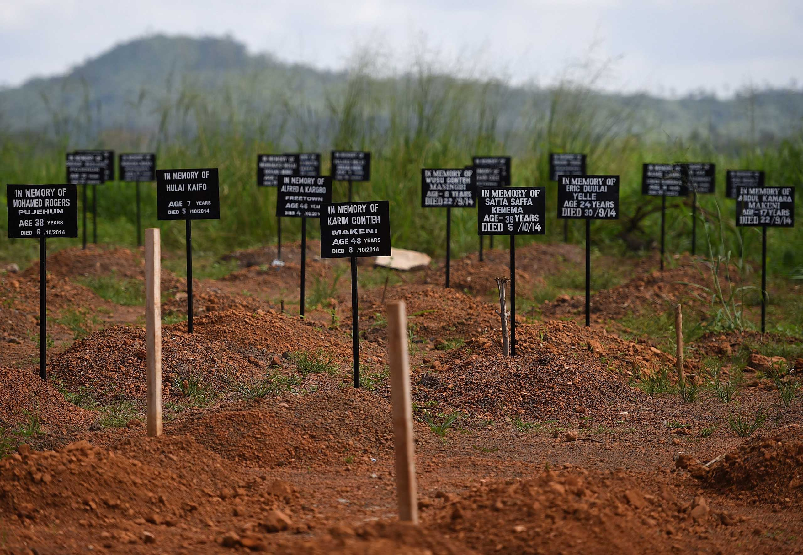 A cemetery at the Kenama Ebola treatment center in Sierra Leone run by the Red Cross Society on Nov. 15, 2014