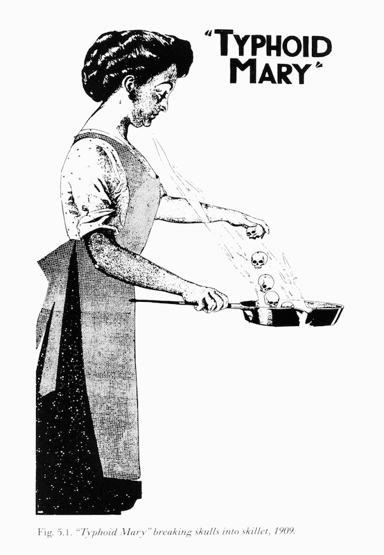 Illustration of 'Typhoid Mary' also known as Mary Mallon breaking skulls into a skillet, circa 1909.
