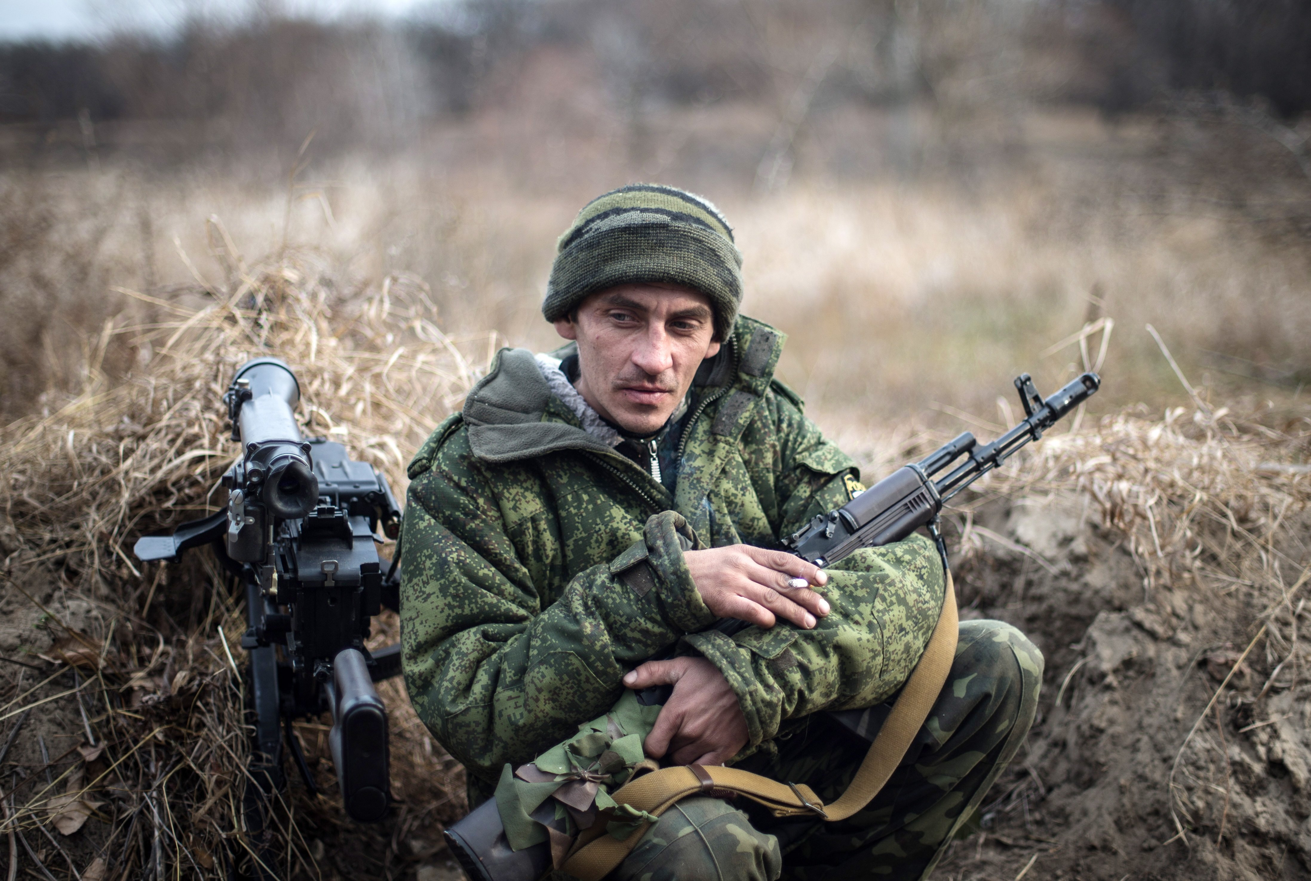 A man of the Don battalion Lugansk People's Republic militia on the firing line on the Seversky Donets River on Nov. 18, 2014.