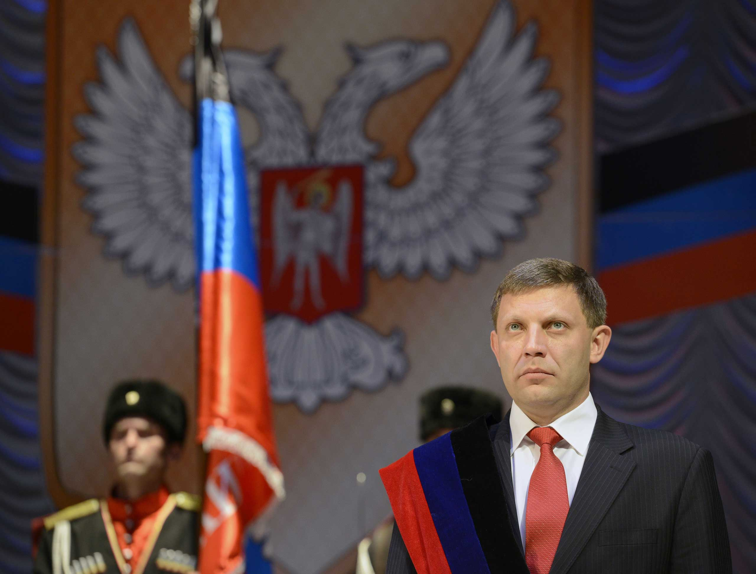The newly elected leader of the self-proclaimed Donetsk People's Republic, Alexander Zakharchenko,  takes the oath on Nov. 4, 2014, during an inauguration ceremony in the eastern Ukrainian city of Donetsk