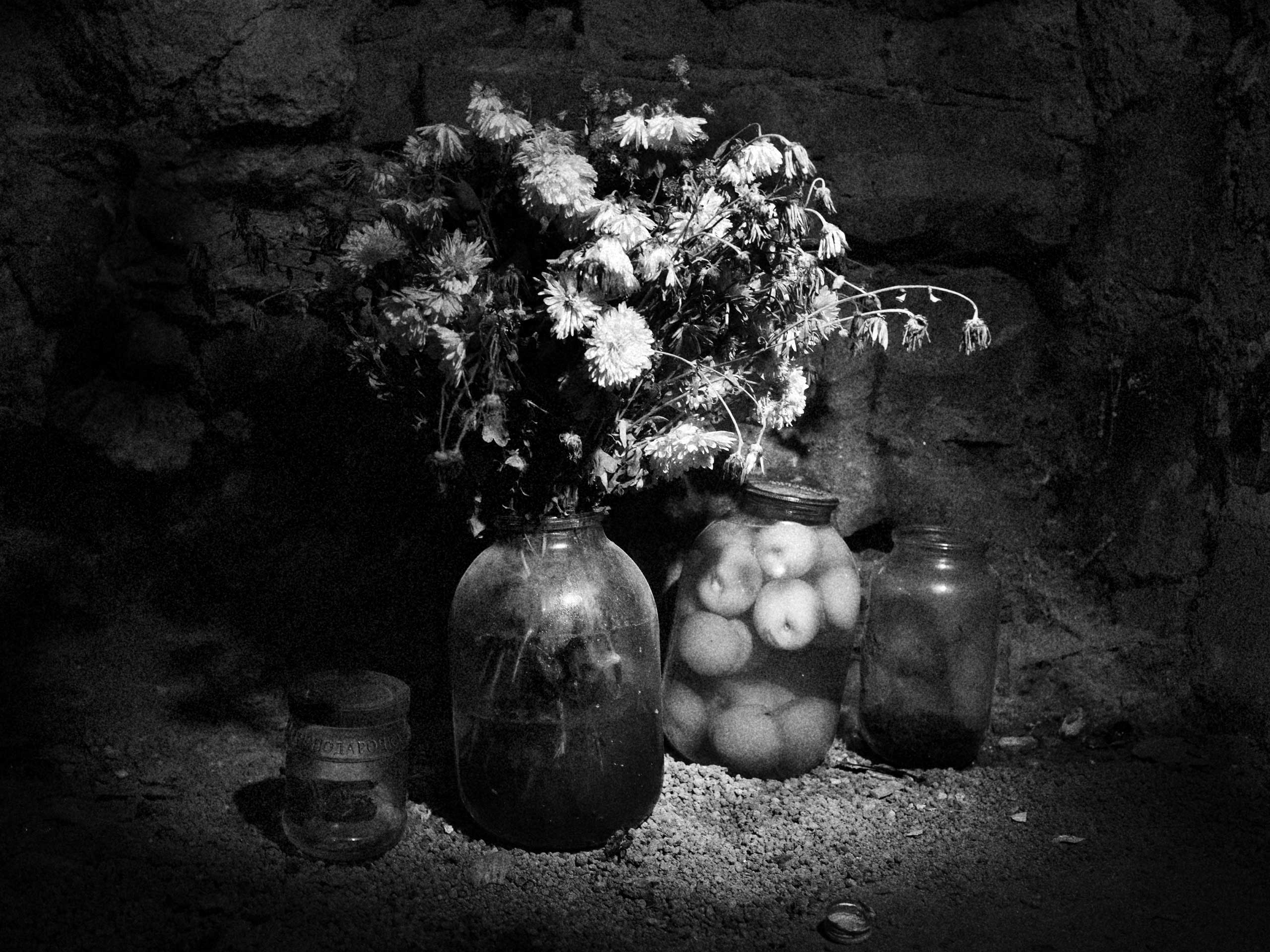Preserved fruits and a jar of flowers are seen in a hollow doubling as a pantry in the Petrovsky district shelter, located under the Town Hall in the village. As winter approaches, many of the residents are willing an end to the conflict so they can return home. Donetsk. Petrovsky District, Ukraine. Nov. 1, 2014.
