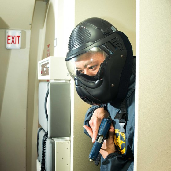 US Marshal in a training facility in Los Angeles International Airport.