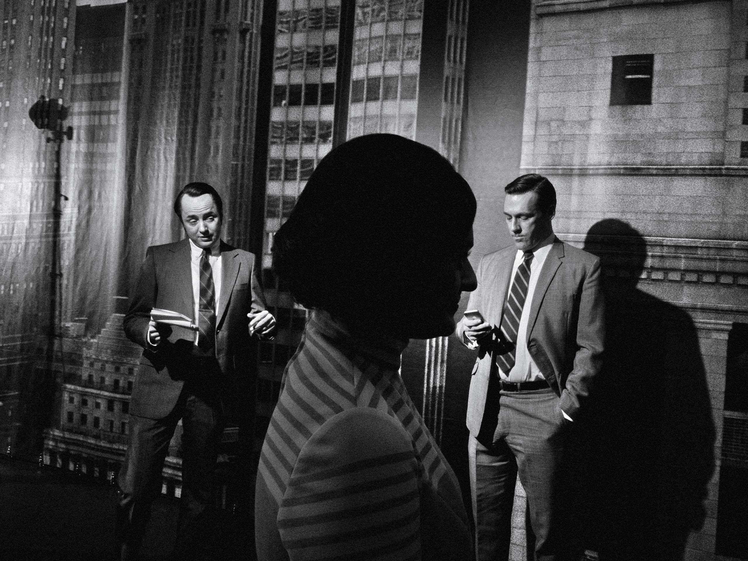 Vincent Kartheiser (left), Elisabeth Moss (center) and Jon Hamm (right) take a break on the set of Mad Men. From  'Mad Men' Up Close: Photos From the Set of the Celebrated Show