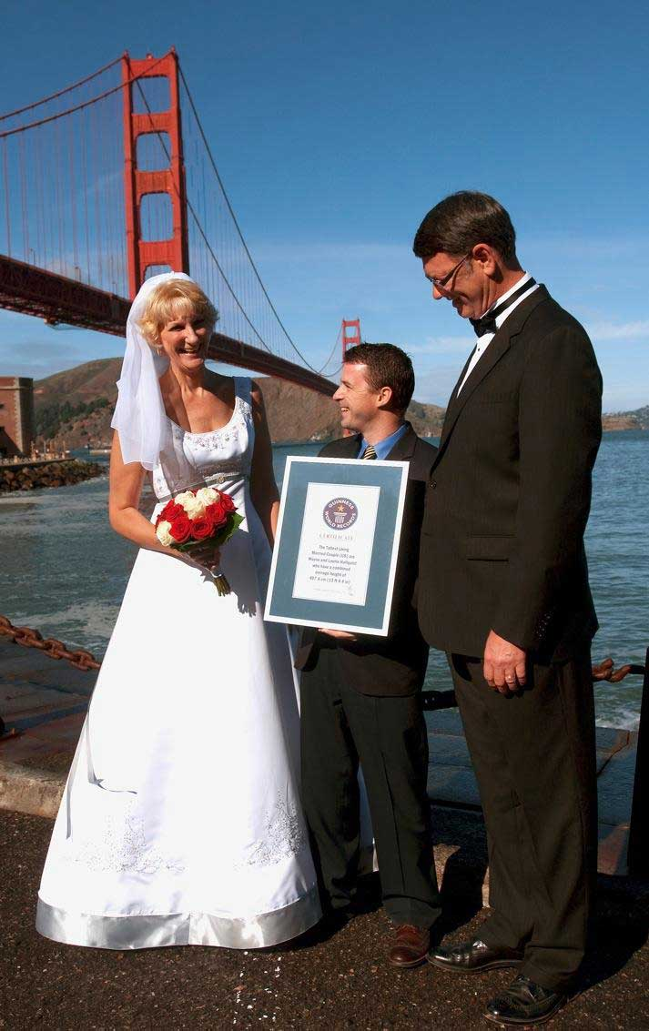 The tallest married living couple in the US are Wayne and Laurie Hallquist who measure a combined 13 ft 4.4 inches.