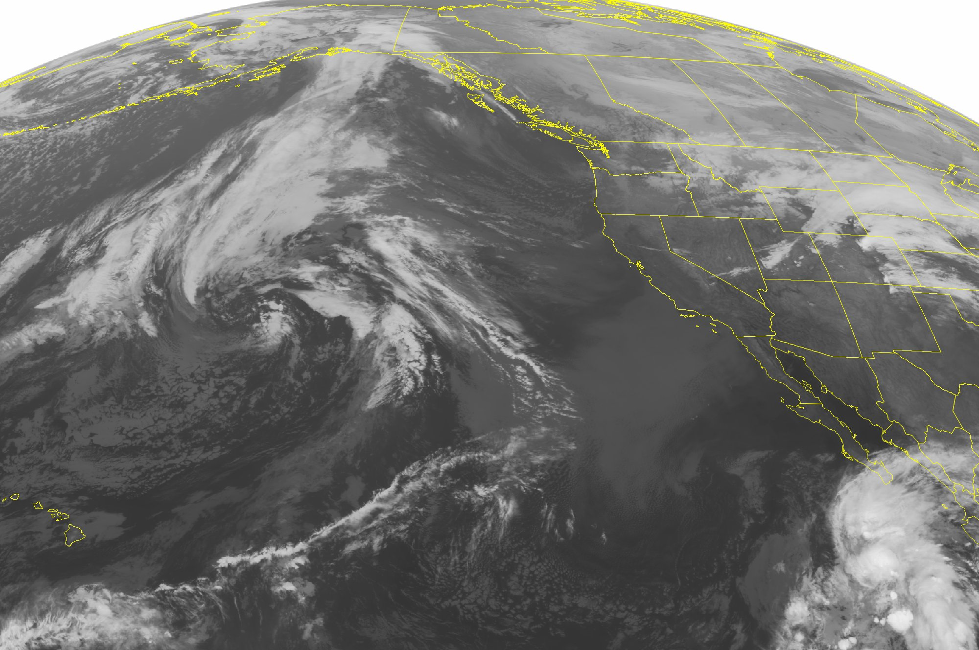 This satellite image taken on Nov. 10, 2014 at 01:00 AM EST shows frontal boundaries across the Northern Plains, Northern Rockies and Pacific Northwest.