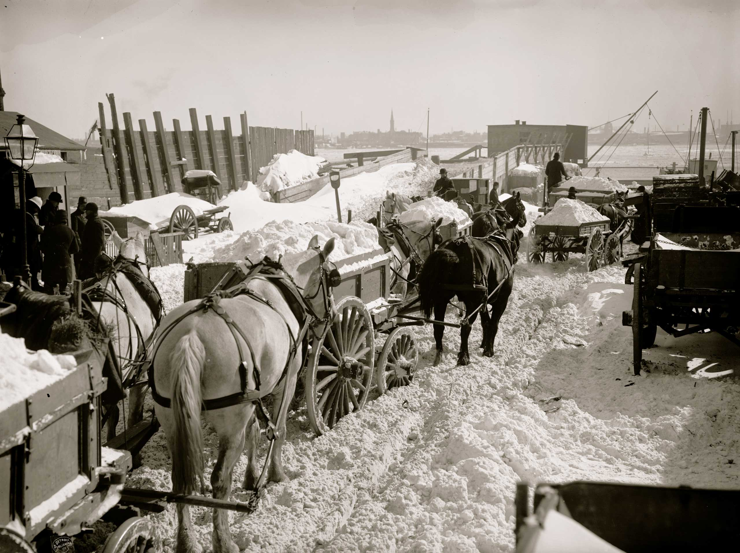 <b>The Blizzard of 1888 (March 11-12, 1888)</b> This late-in-the-season snowstorm devastated much of the East Coast, incapacitating New York City, Boston, Washington and Philadelphia with up to 50 inches of snow. Here, carts haul excess snow and ice from city streets for dumping in the East River in New York City.