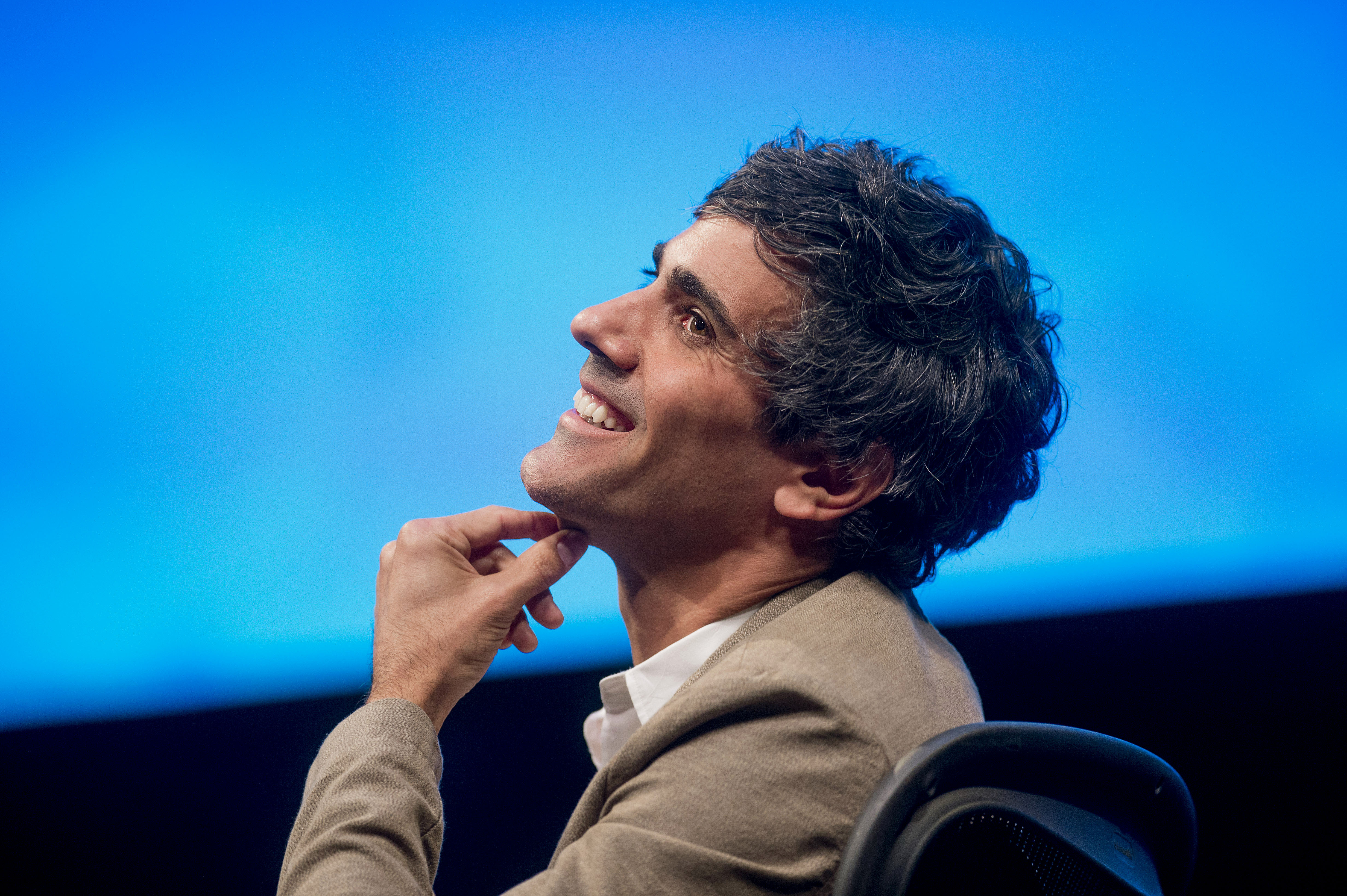 Jeremy Stoppelman, chief executive officer and co-founder of Yelp Inc., smiles during a panel discussion at the DreamForce Conference in San Francisco, California on Oct. 13, 2014.