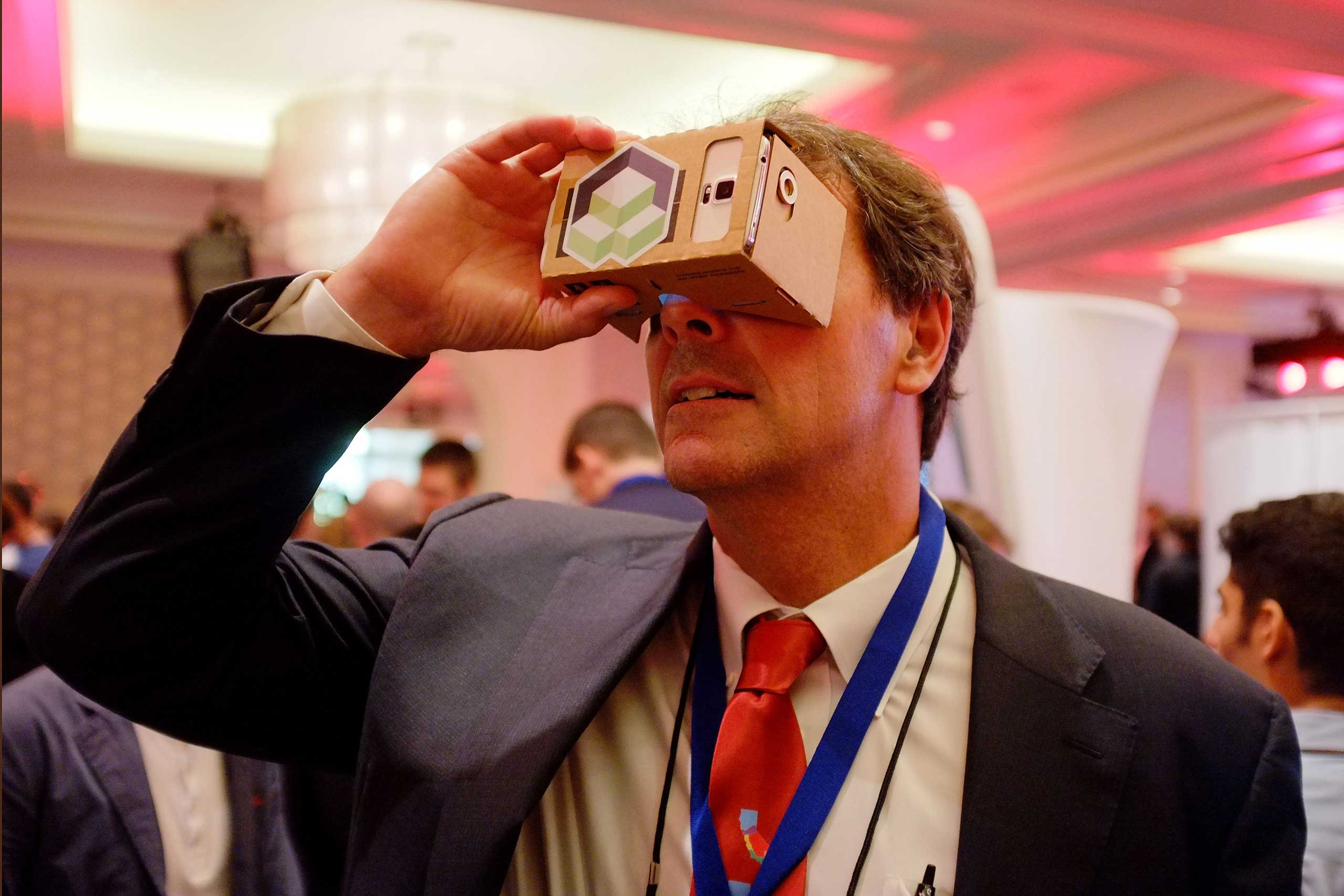 2014                                                              Tim Draper, Founder and Managing partner of 'Draper Fisher Jurvetson', tried out the latest in virtual reality technology the 2014 Kairos Global Summit at Ritz-Carlton Laguna Nigel in Dana Point, California.