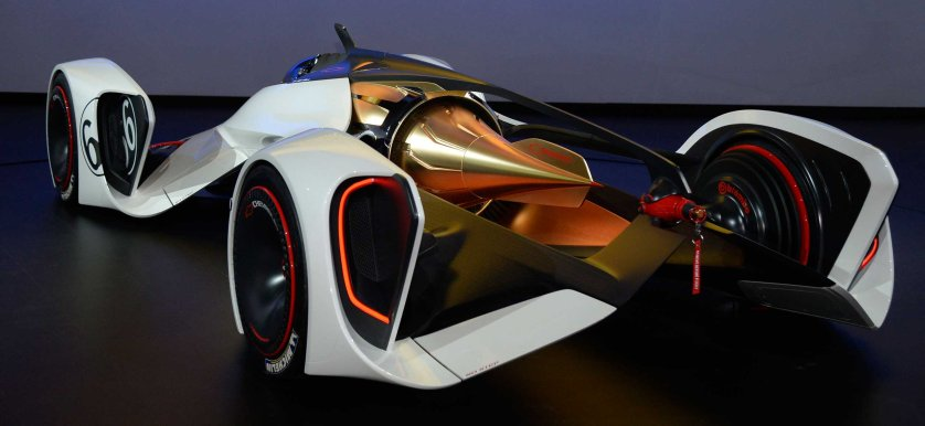 The Chevy Chaparral 2x Vision concept car on display during the third day of media day at the LA Auto show.