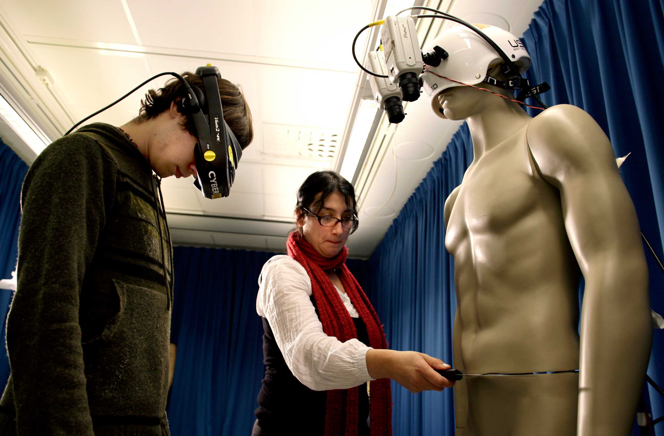 2008                                                              Valeria Petkova, right, and student Andrew Ketterer, left, of the Karolinska Institute in Stockholm, tested the 'body-swap' illusion, a method whereby people can experience the illusion that either a mannequin or another person's body is their own body.