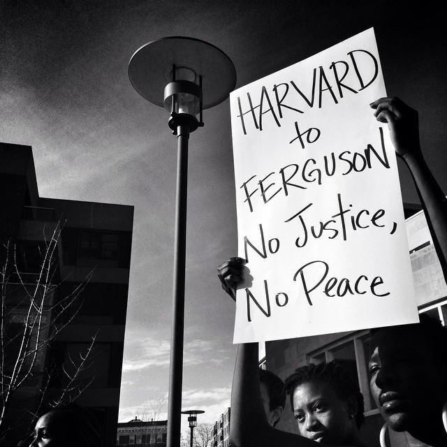 Glenn Cooper, a photojournalist in Boston, writes  Ferguson walkout protest at Harvard U. #fergusonaction #ferguson #protest #michaelbrown #handsupwalkout