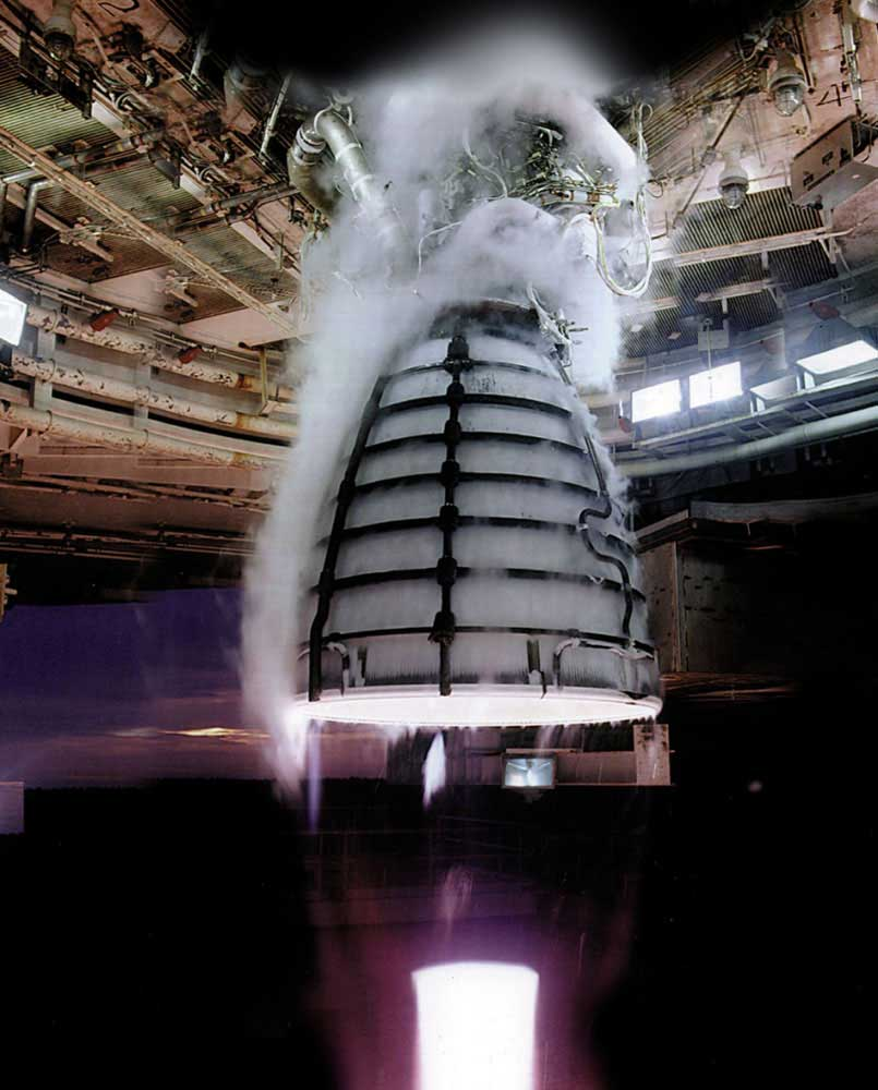 Four RS-25 engines undergoing a hot-fire test, will power the core stage of NASA's Space Launch System (SLS), America's planned heavy-lift launch vehicle. Formerly known as the space shuttle main engine, the RS-25 will be tested beginning in 2014 at NASA's Stennis Space Center.