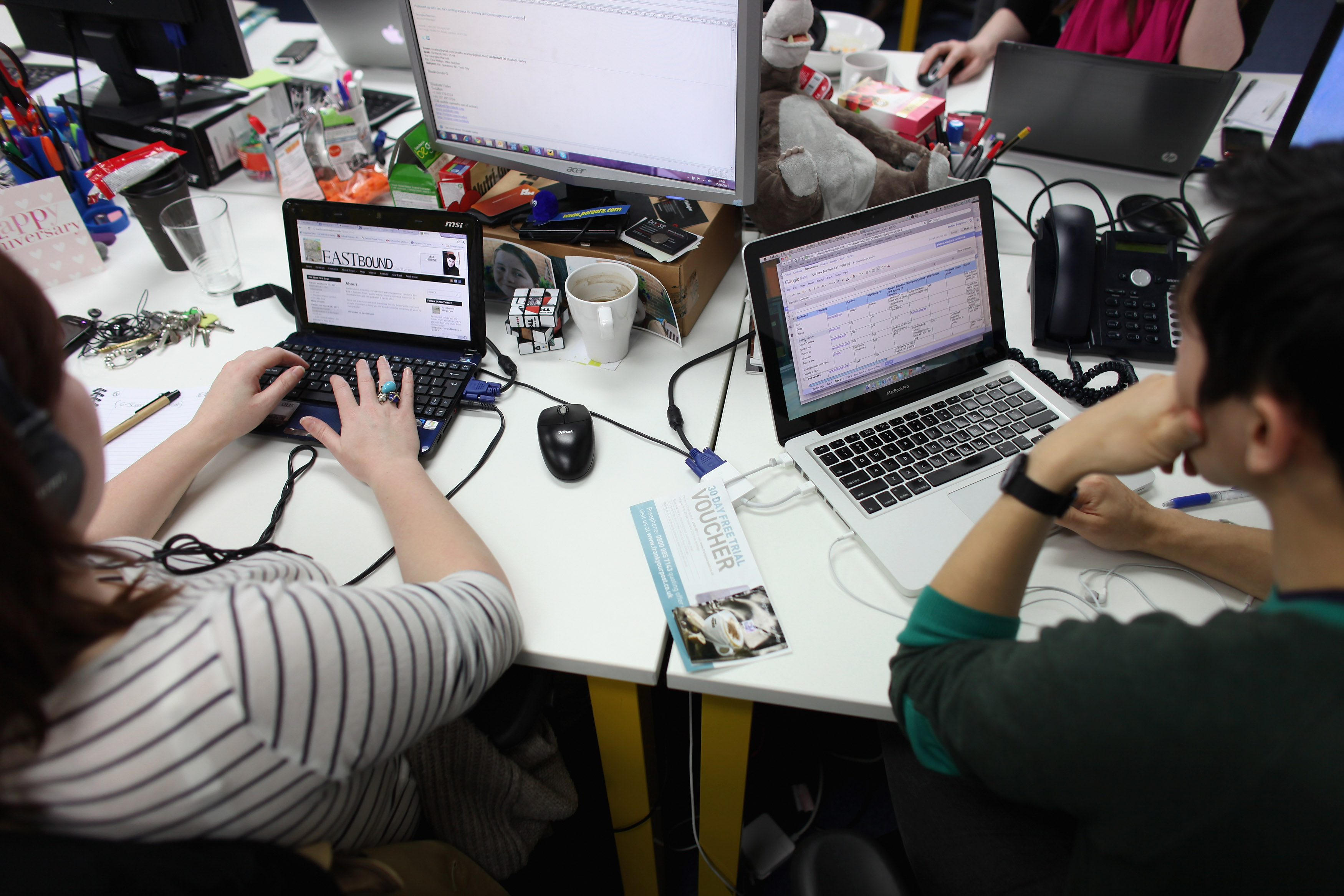 People work at computers on March 15, 2011 in London, England.