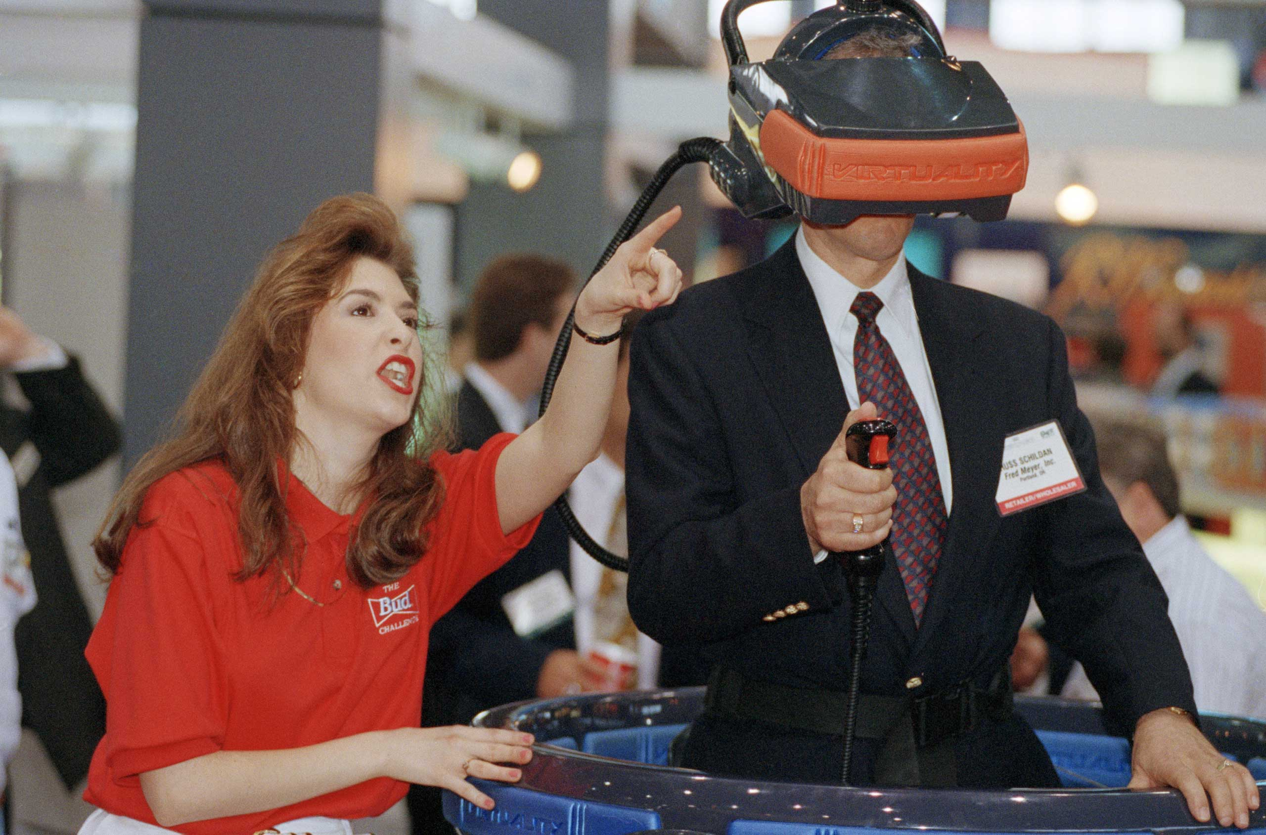 1993                                                              The 3-player Budweiser virtual reality mask at the Food Marketing Institute's International Supermarket Industry Convention and Educational Expostion in Chicago.