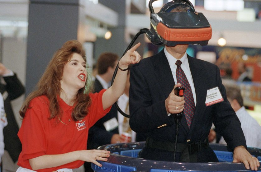 The 3-player Budweiser virtual reality mask at the Food Marketing Institute's International Supermarket Industry Convention and Educational Expostion in Chicago.