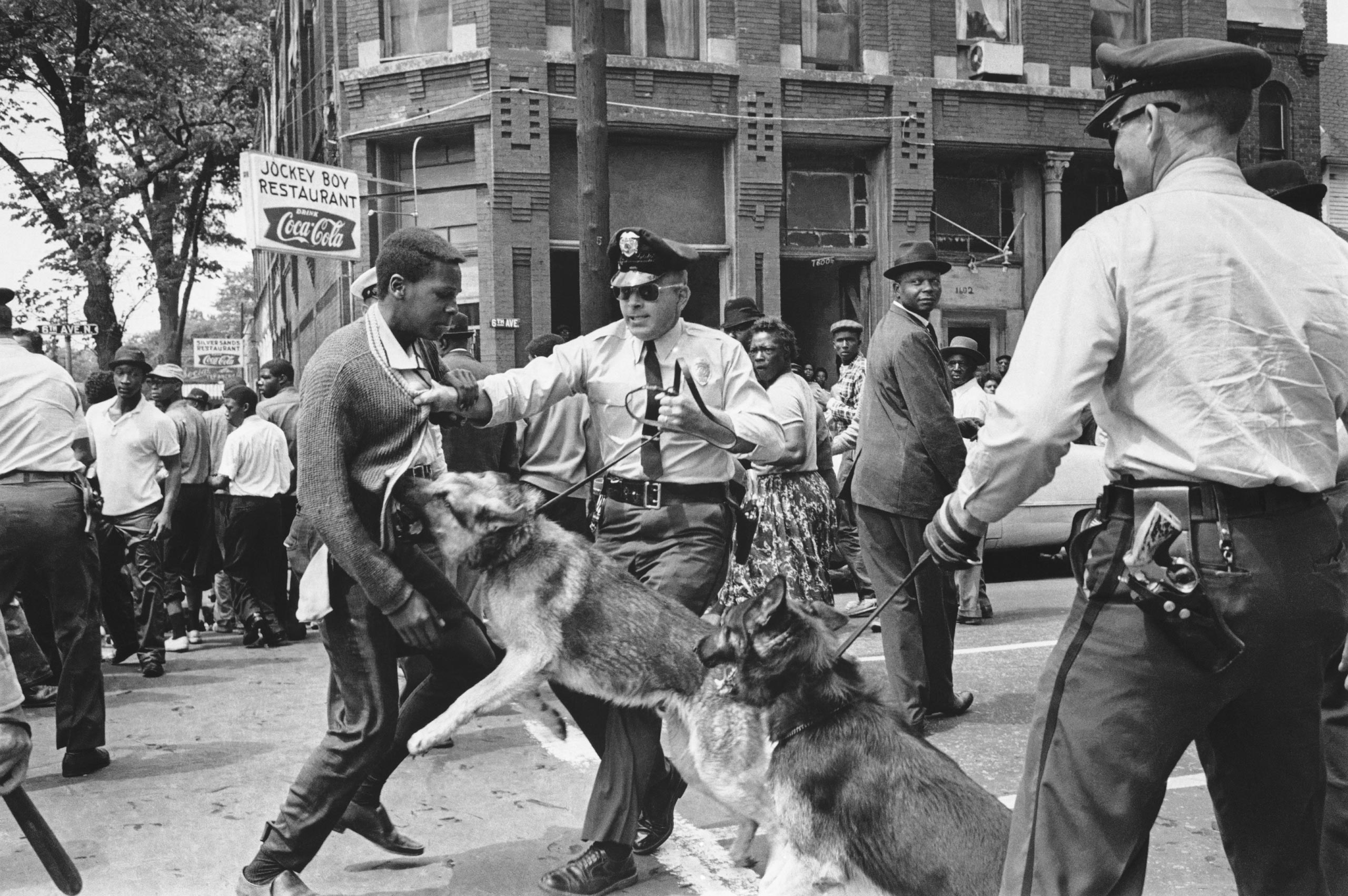 A 17-year-old civil rights demonstrator, defying an anti-parade ordinance of Birmingham, Ala., is attacked by a police dog on May 3, 1963.
