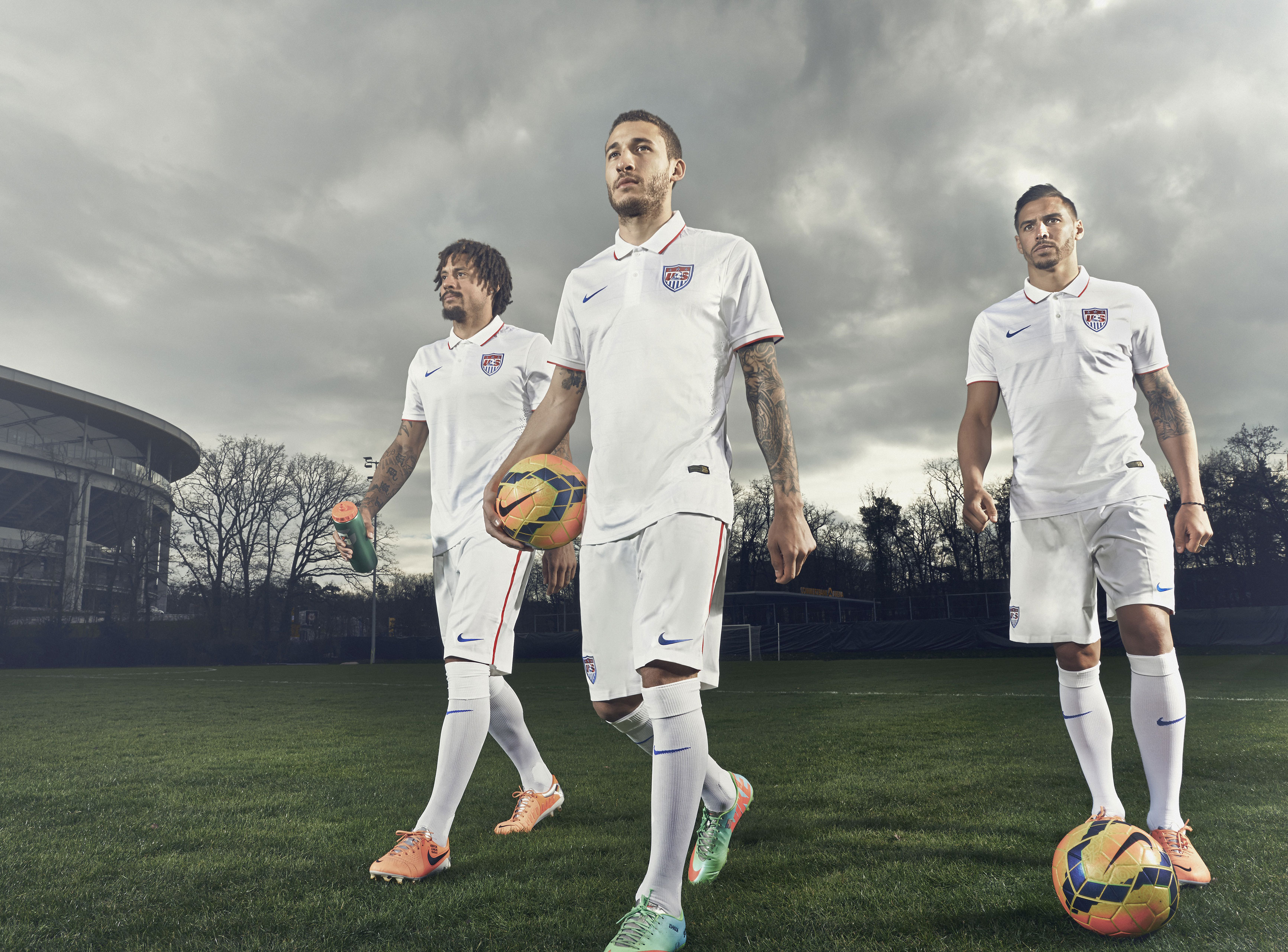 Left to right: Jermain Jones, Fabian Johnson and Geoff Cameron. From  Stars, Stripes and Soccer.  June 23, 2014 issue.