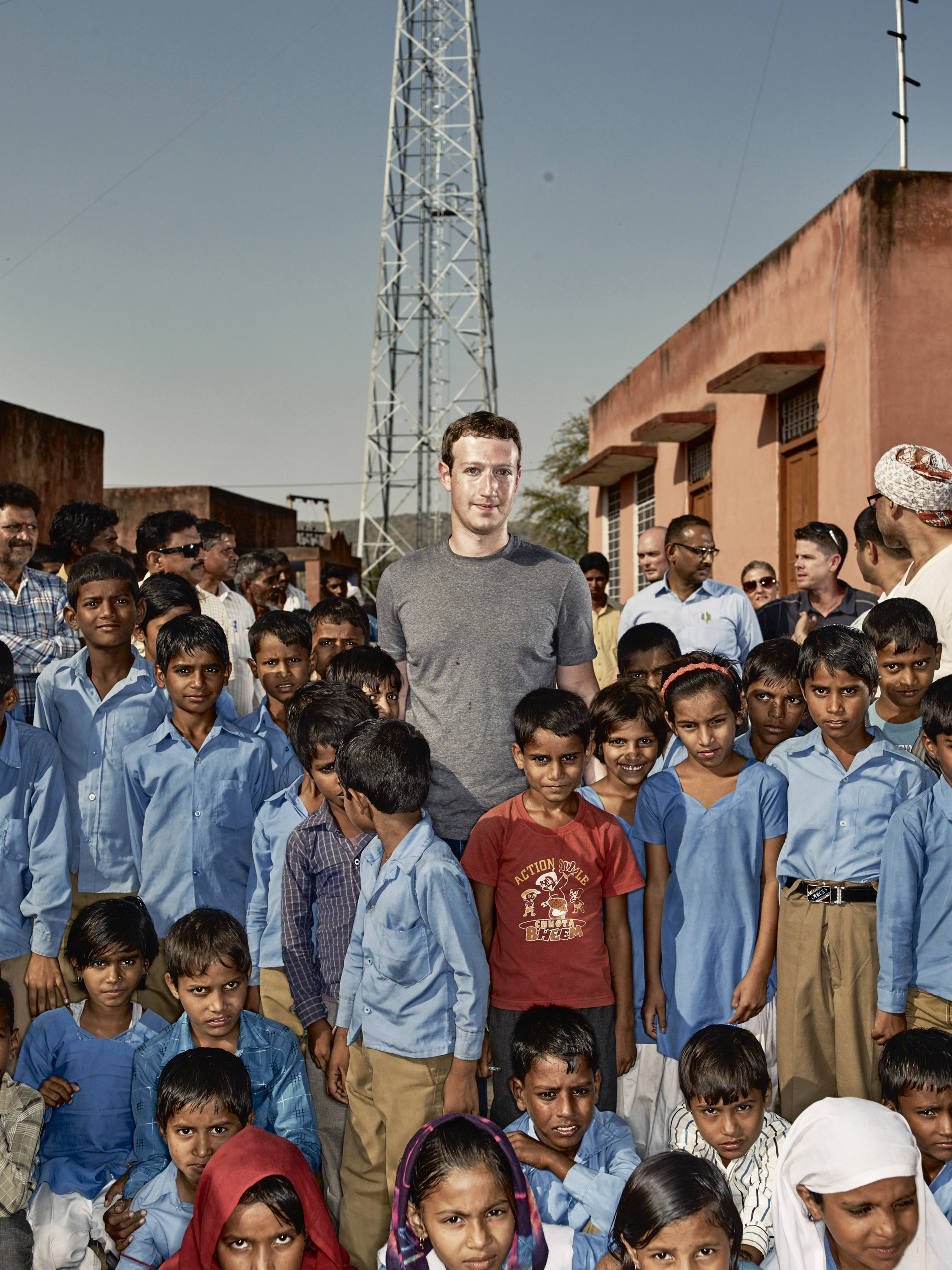 Zuckerberg in Chandauli, a village  in India where a new computer center opened this year