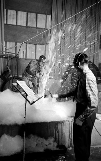 Creating sound effects for a Disney movie, 1953.