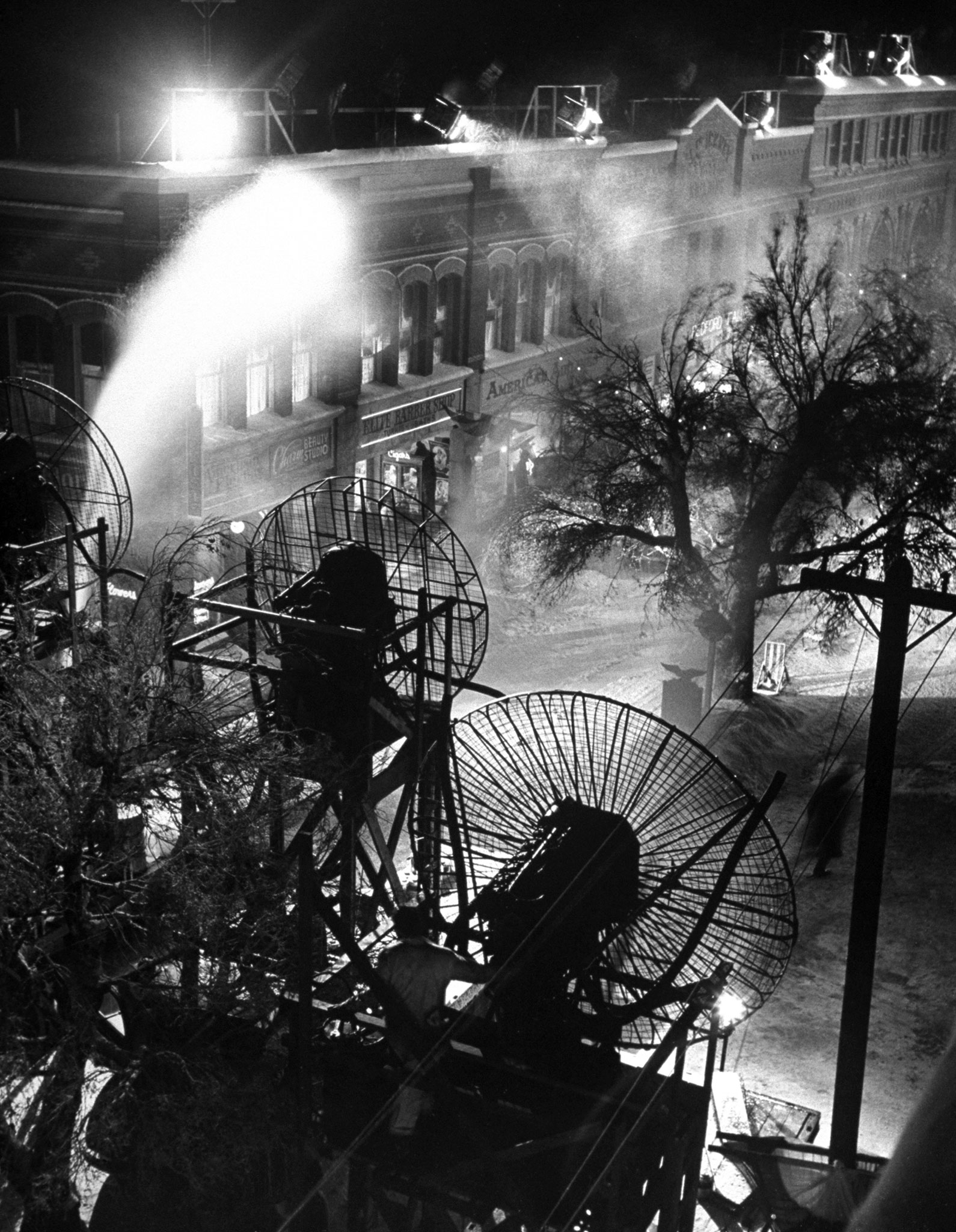 <b>Not published in LIFE.</b> Making artificial snow on the set of <i>It's a Wonderful Life</i>.