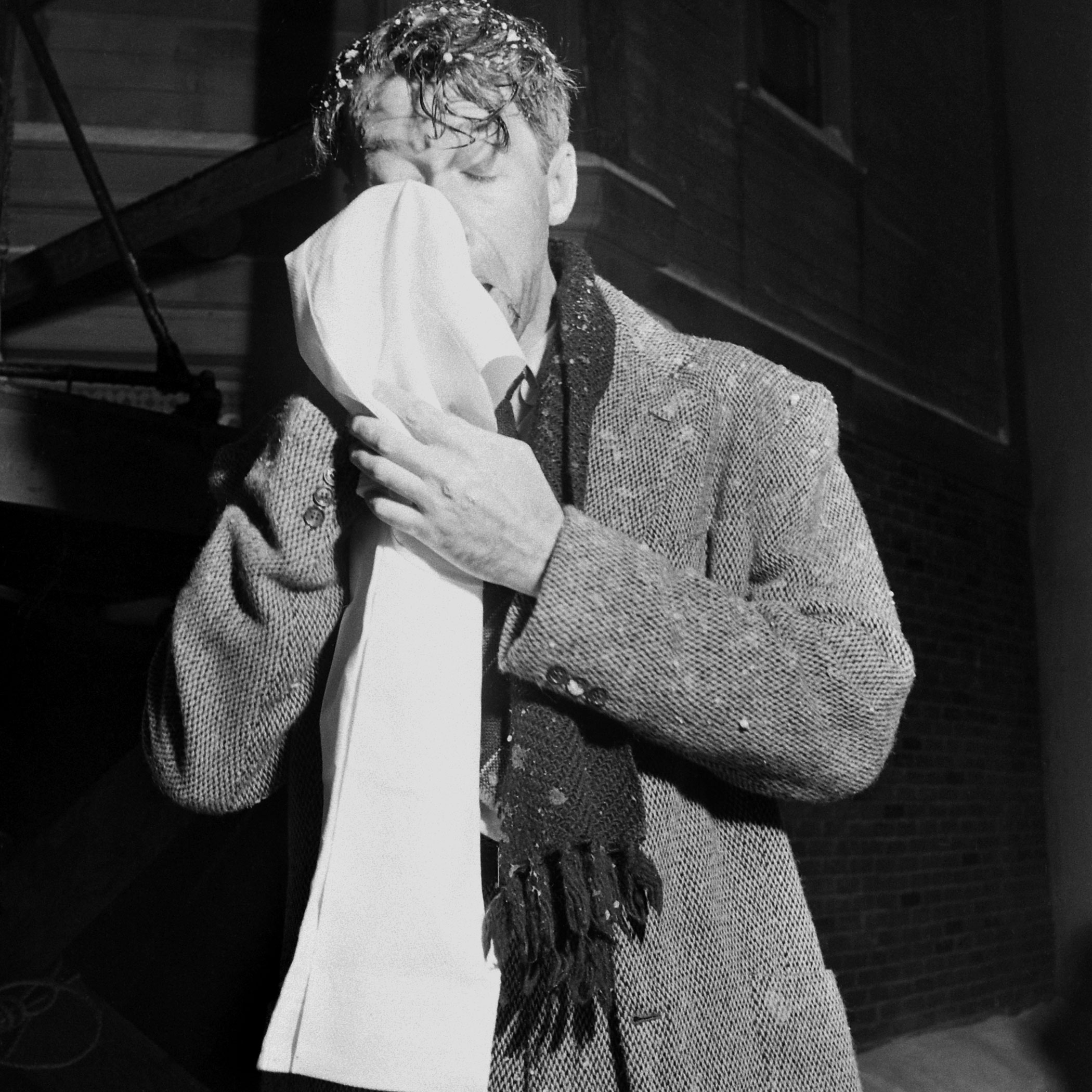 <b>Not published in LIFE.</b> Jimmy Stewart on the set of <i>It's a Wonderful Life</i>.