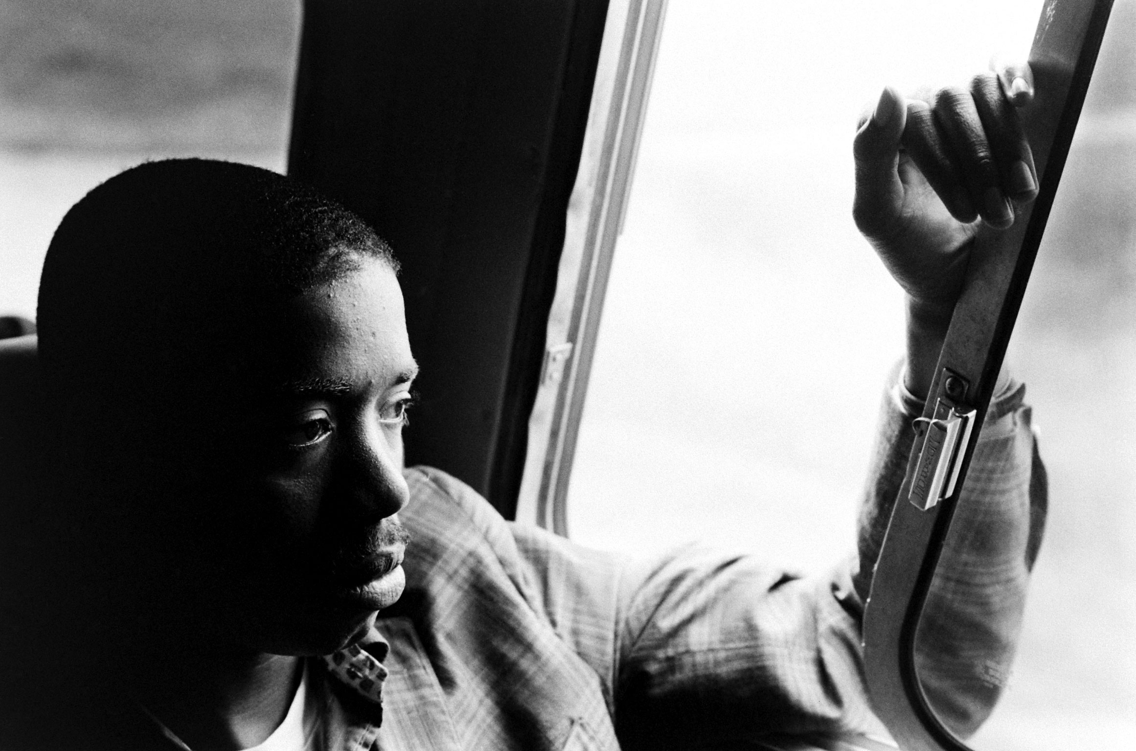 A young freedom rider on a bus in the Deep South.