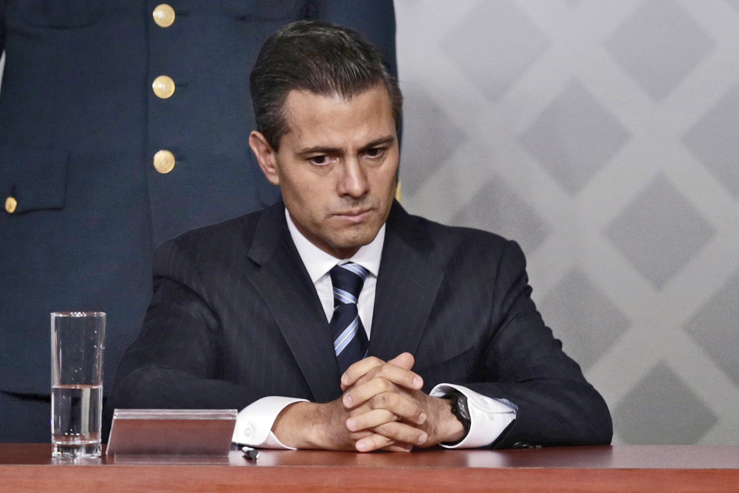 The embattled Mexican leader at a meeting with lawyers in Mexico City on Nov. 21