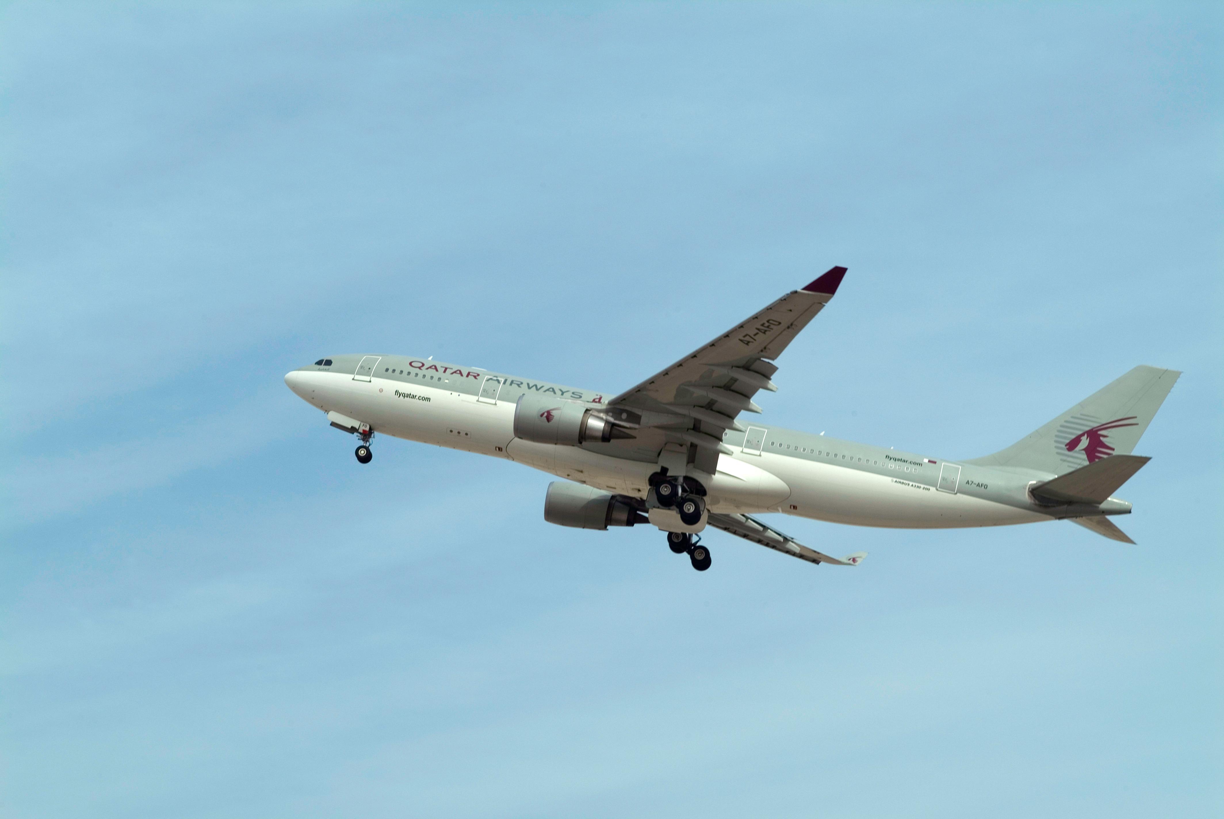 Qatar Airways aircraft takes off, Doha, Qatar.