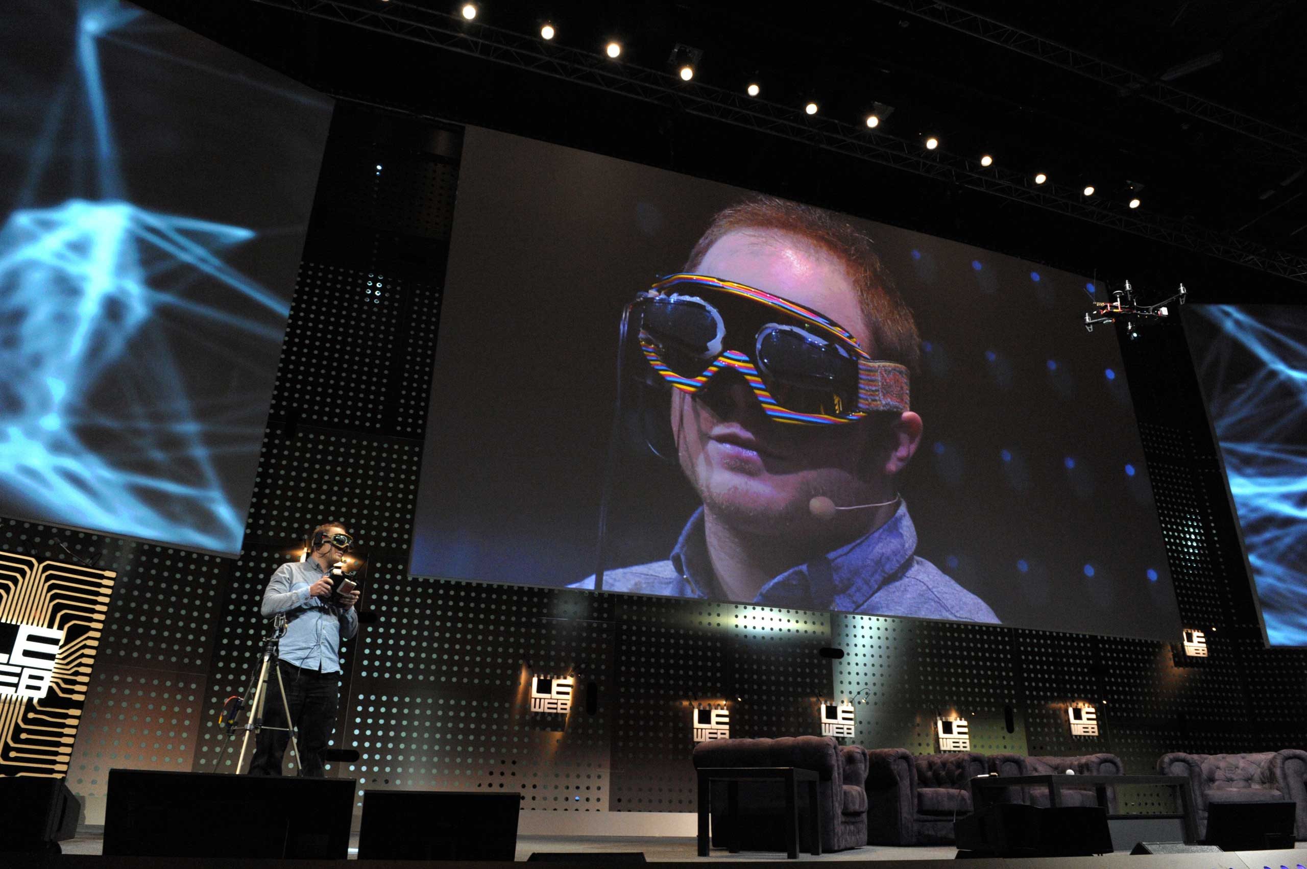 <strong>2012</strong>                                                                      Raphael Pirker from Switzerland, founder of Team BlackSheep used virtual reality goggles to simulate the sensation of flight in the real world during a demonstration, flying from the perspective of a model aircraft, during a session of LeWeb'12 in Saint-Denis, near Paris.