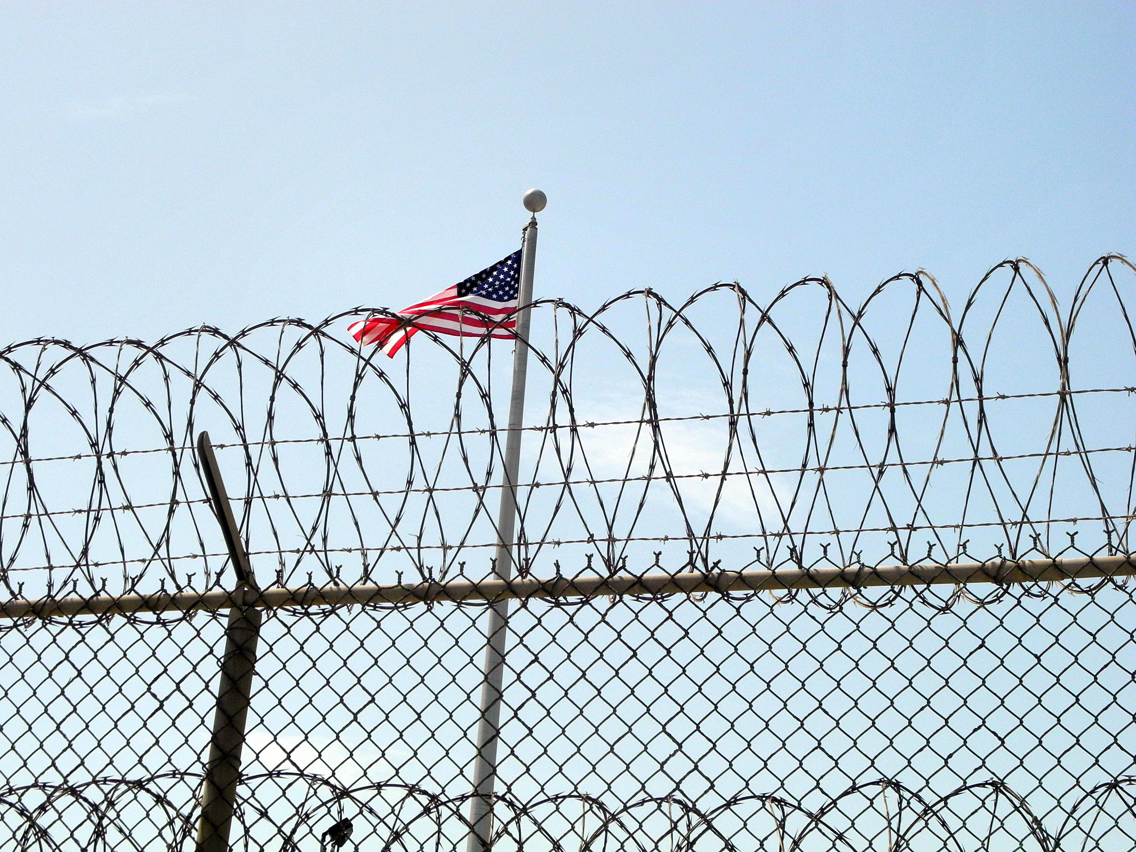 The US flag at the US Naval Base in Guantanamo Bay, Cuba on August 6, 2013.