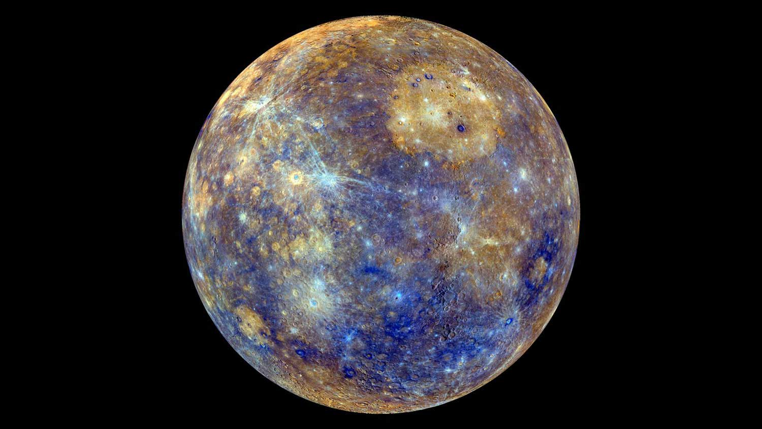 The colors of Mercury, the solar system's innermost planet, are enhanced in this image, based on data from NASA's Mercury-orbiting MESSENGER spacecraft.