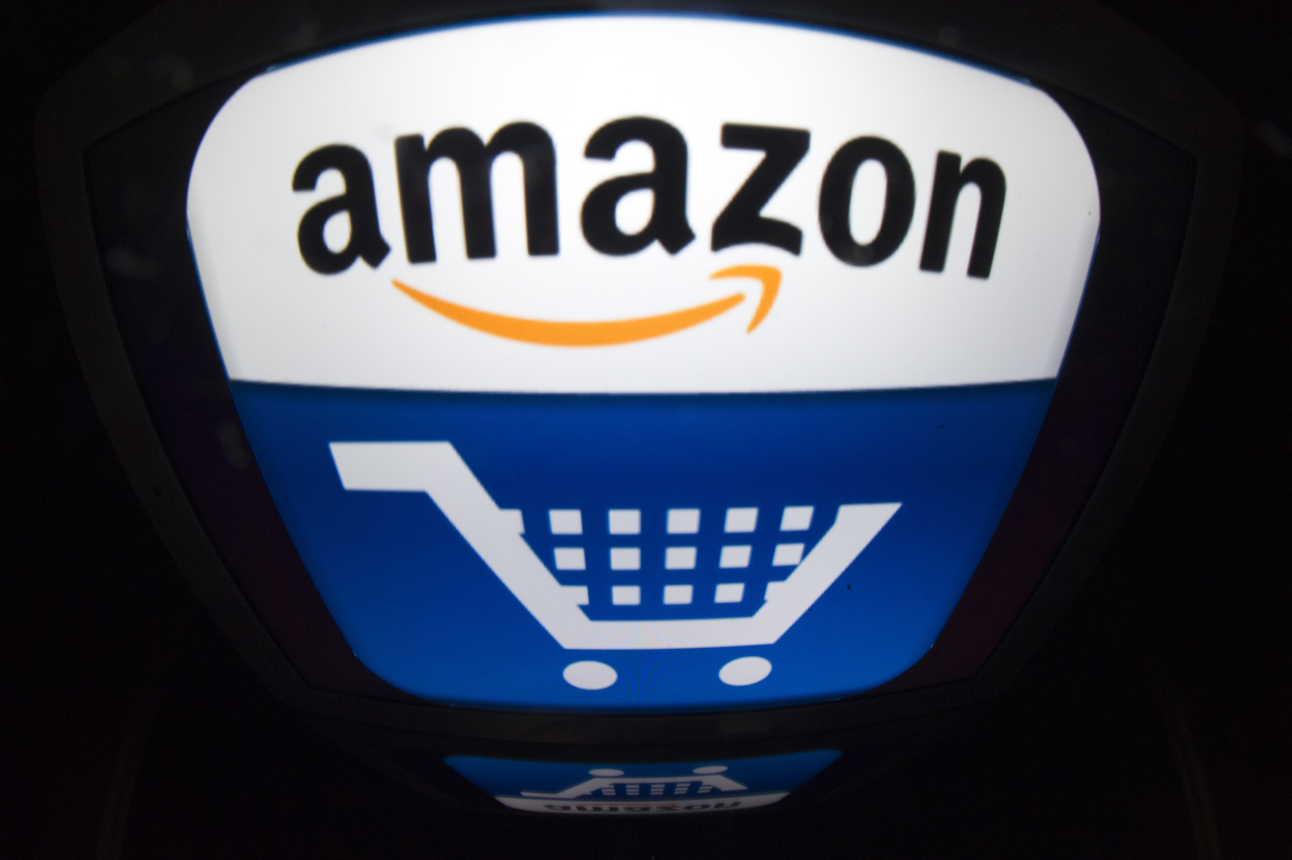 The Amazon logo is shown in Paris on November 13, 2012.