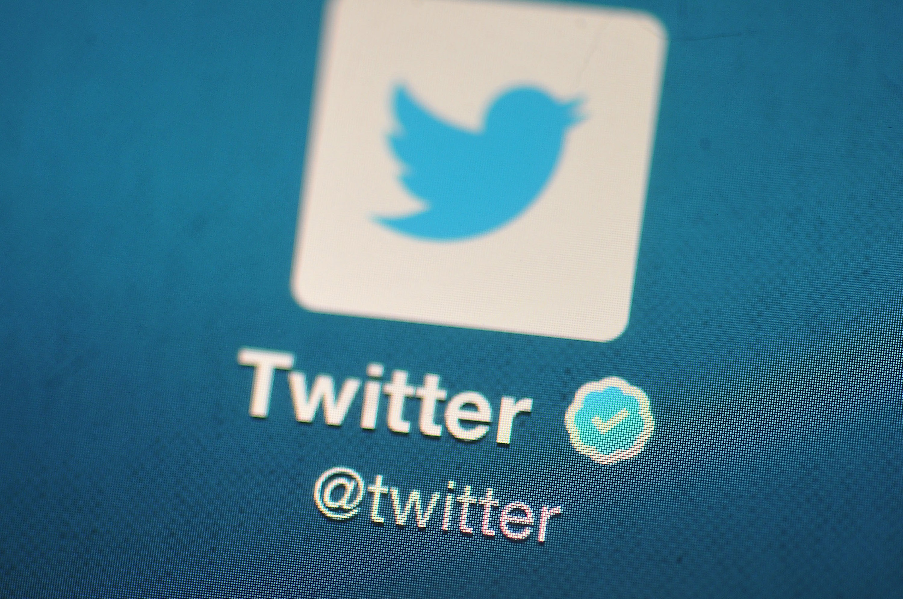 The Twitter logo is displayed on a mobile device.