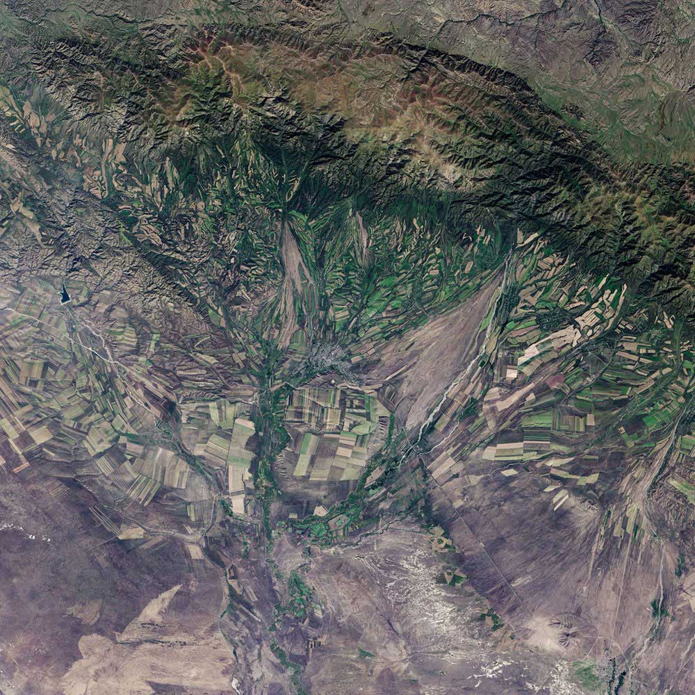 Sept. 22, 2013, the autumnal equinox, marks the beginning of fall in the Northern Hemisphere, but the seasonal harvest begins early in the harsh continental climate of eastern Kazakhstan. By Sept. 9, 2013, when the Landsat 8 satellite acquired this image, several fields were already bare. Others were dark green with pasture grasses or ripening crops.