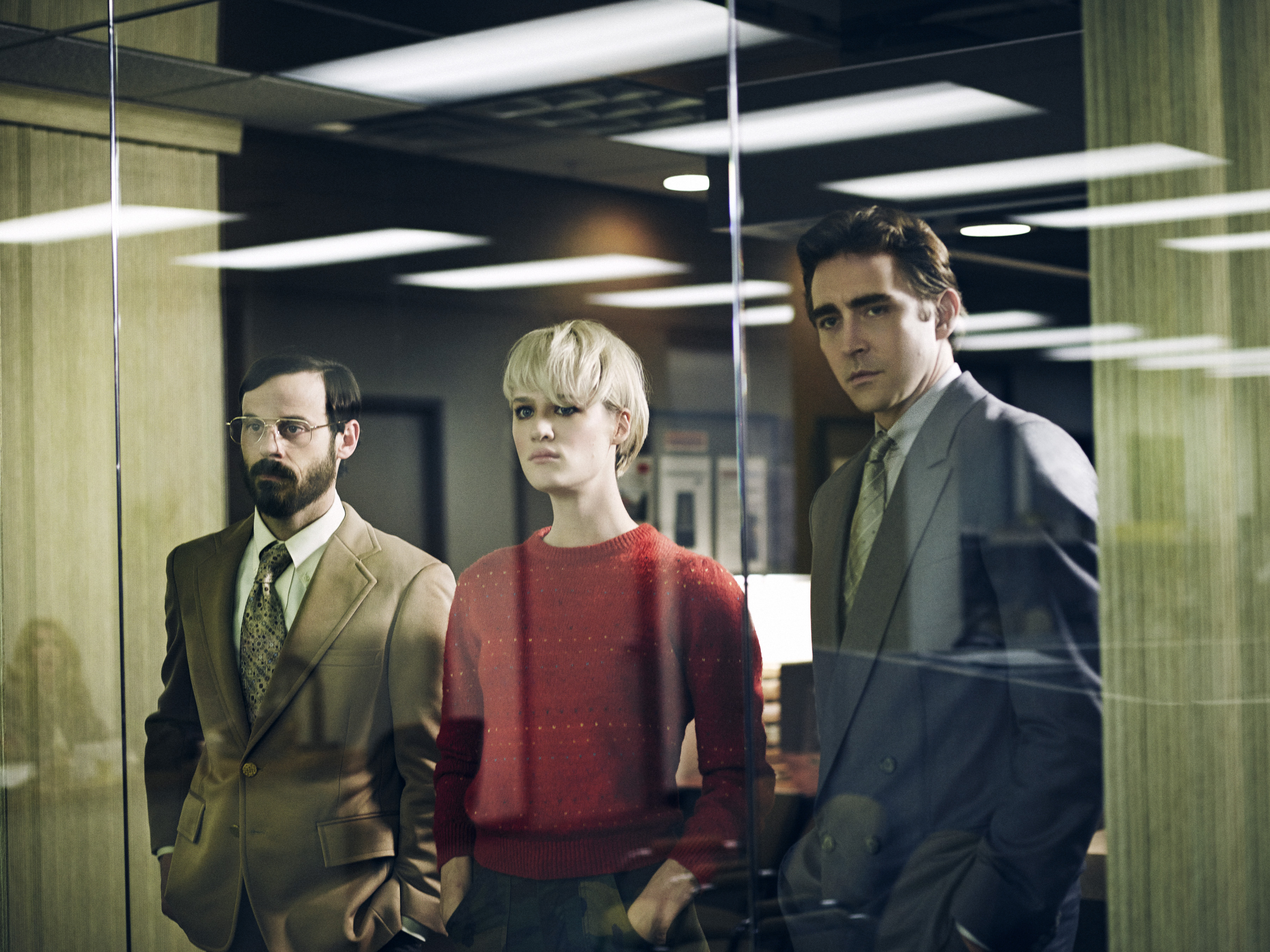 Scoot McNairy, Mackenzie Davis and Lee Pace in Halt and Catch Fire.