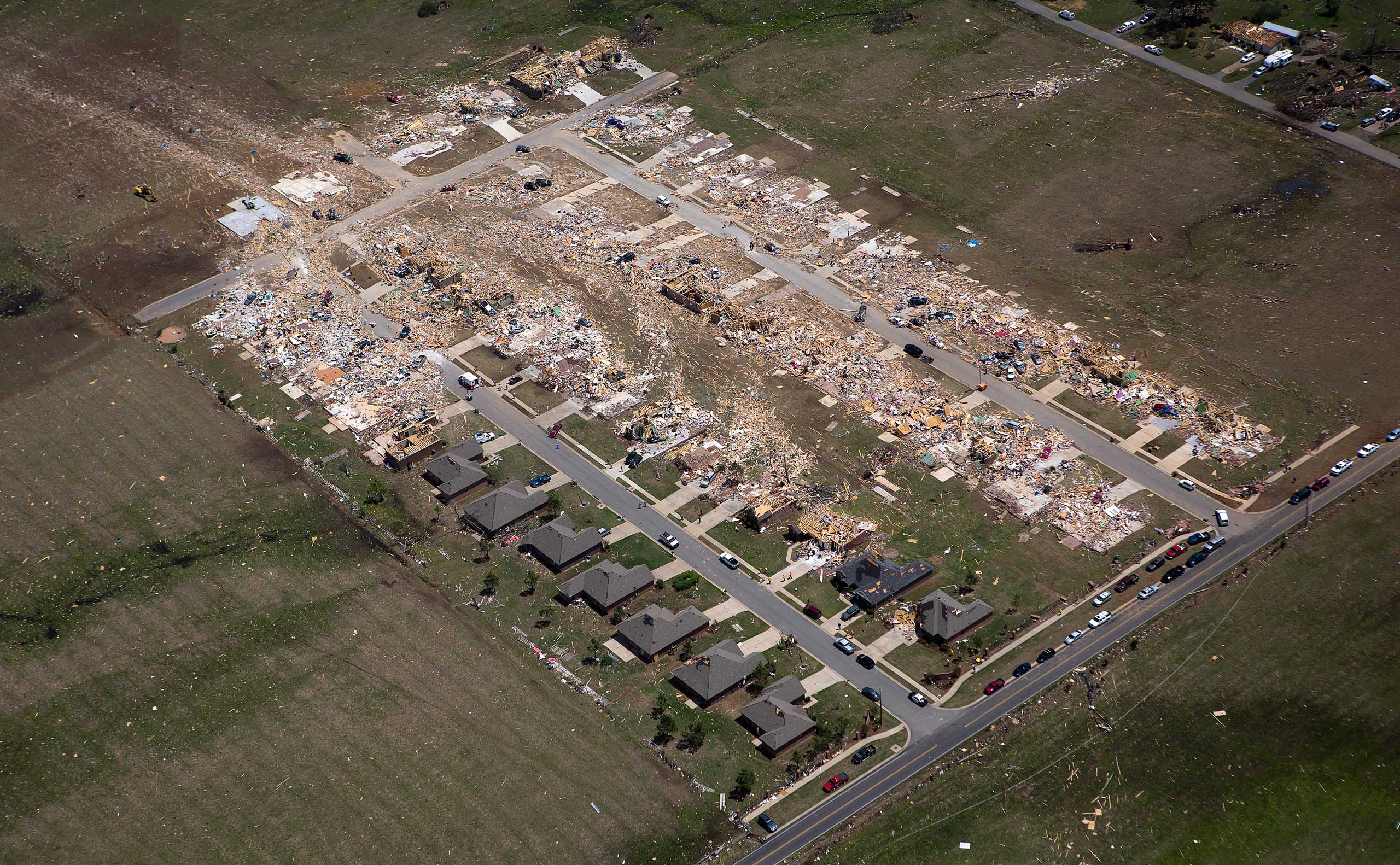<b>Arkansas Tornado</b> Aerial view of the central town after a tornado hit Vilonia, Ark., April 28, 2014.