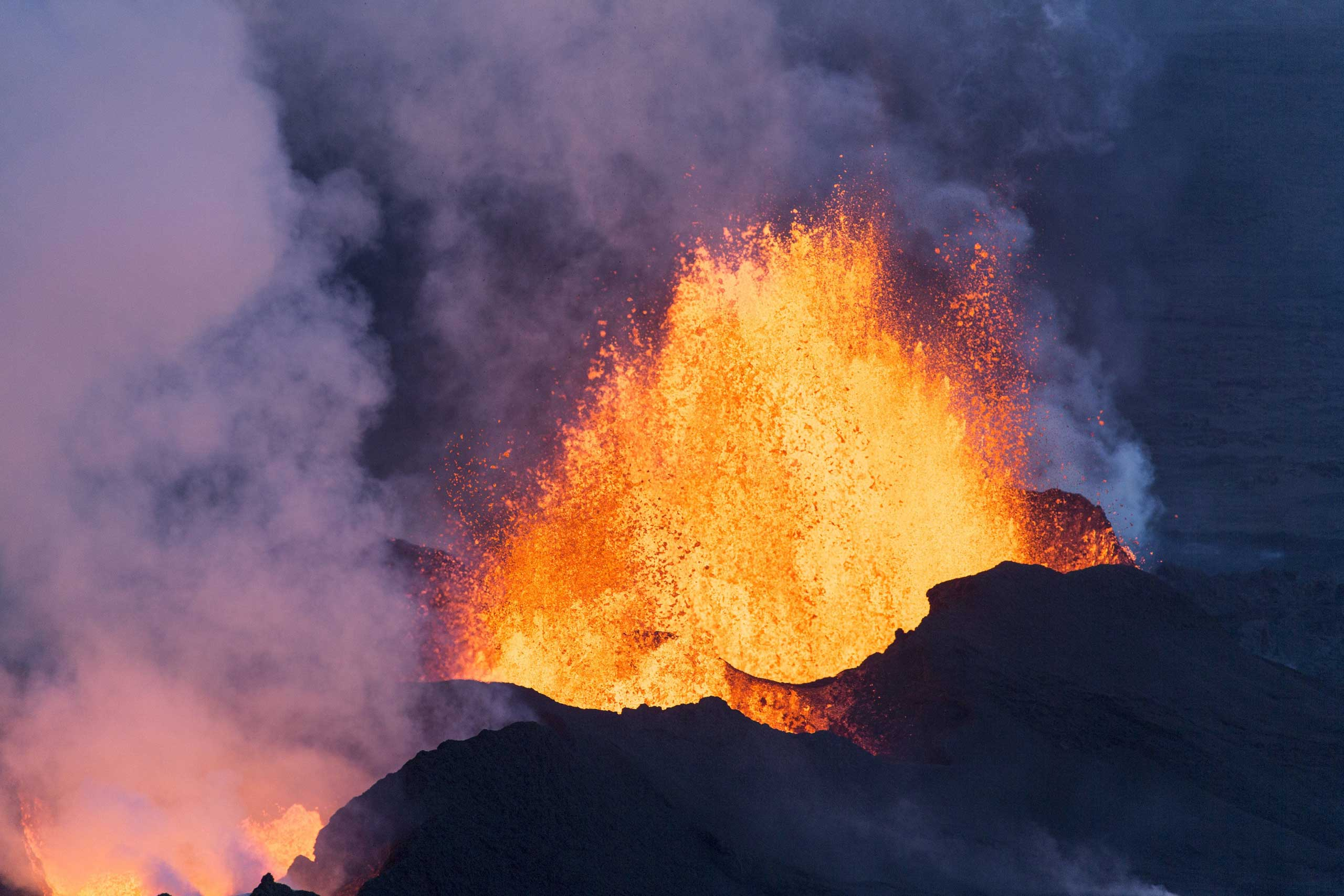 <b>Iceland Volcano</b> The Bardarbunga volcano spews lava and smoke in southeast Iceland on Sept. 14, 2014.