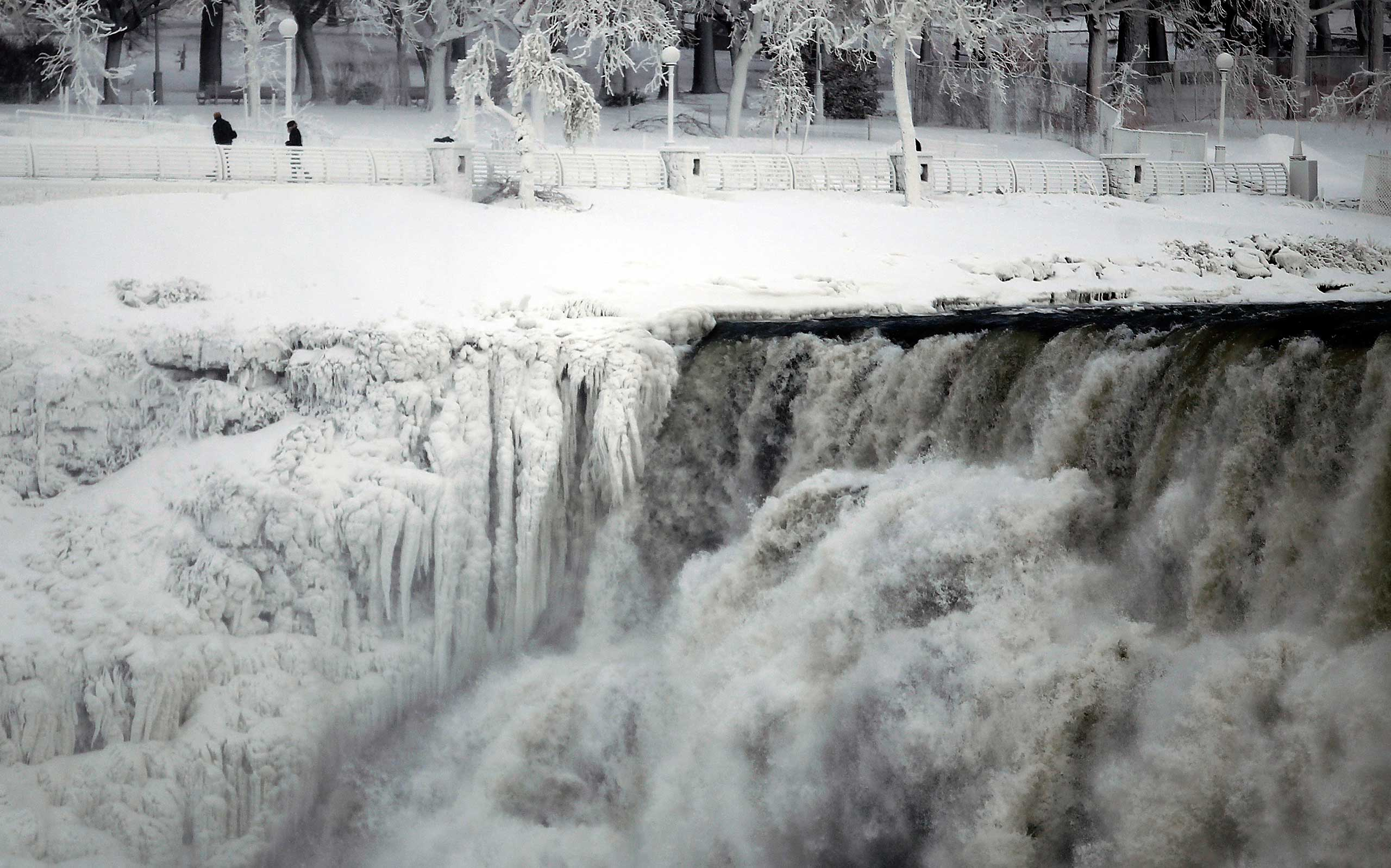 "<b>Polar Vortex</b> The U.S. side of Niagara Falls is pictured in Niagara Falls, N.Y. on Jan. 8, 2014. The frigid air and ""polar vortex"" affected about 240 million people in the United States and southern Canada."