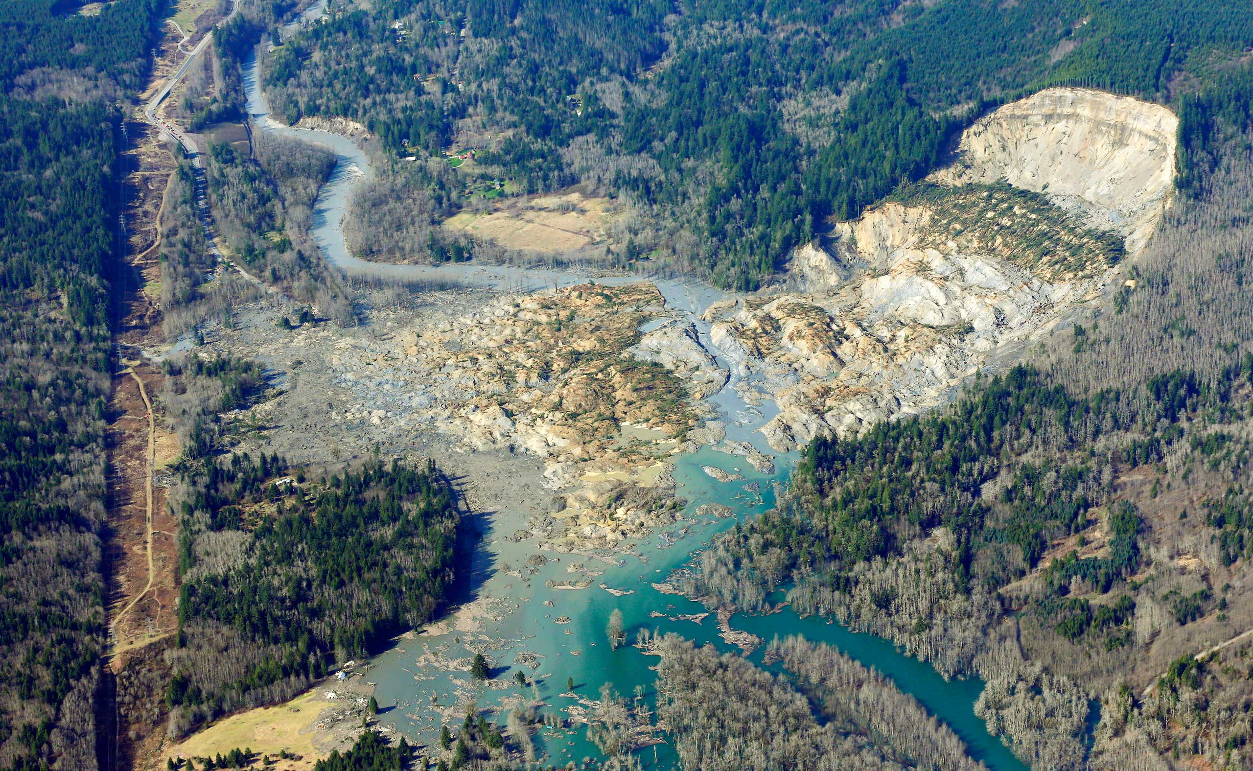 <b>Washington Mudslide</b> A massive mudslide killed at least eight people and left dozens missing in Arlington, Wash., March 24, 2014.