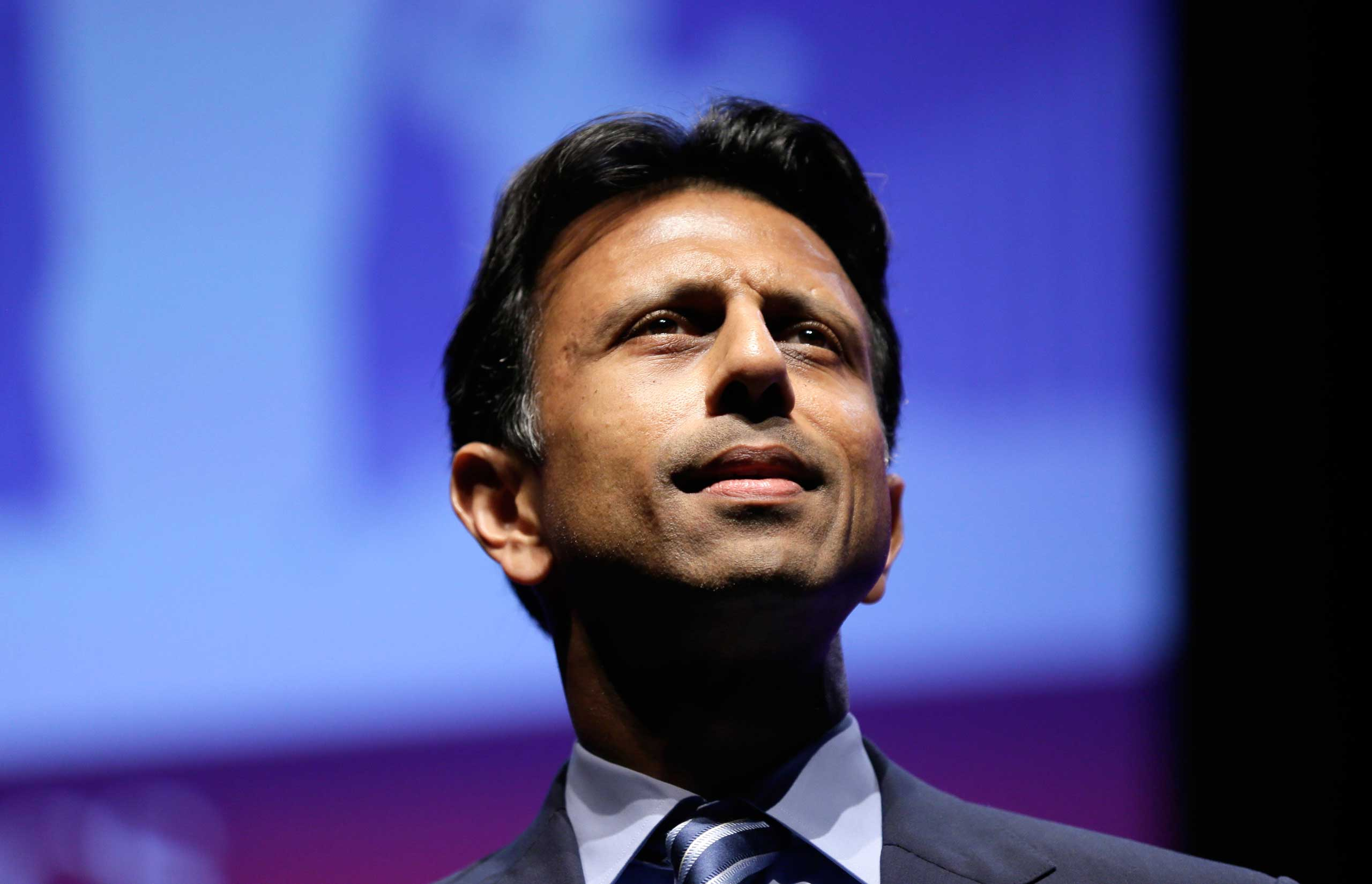 <b>Bobby Jindal</b> Louisiana Gov. Bobby Jindal looks to the future during The Family Leadership Summit on Aug. 9, 2014, in Ames, Iowa.