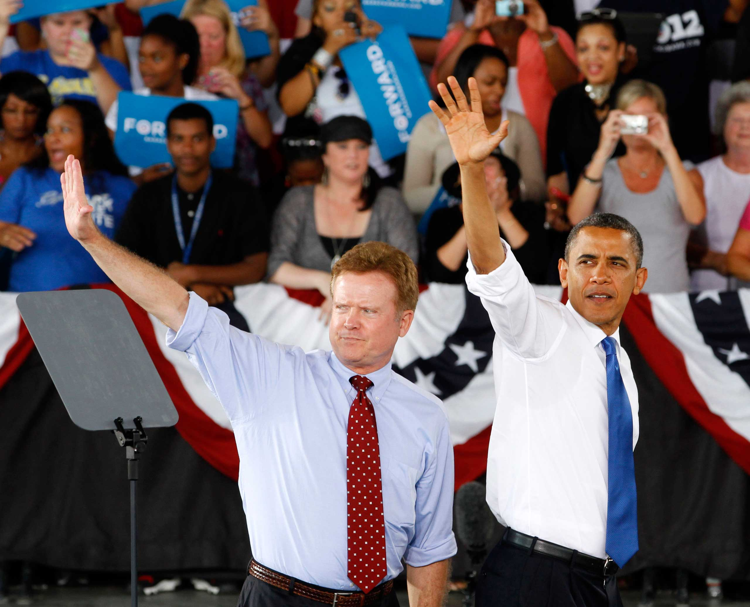 <b>Jim Webb</b> Retiring Sen. Jim Webb imitates the presidential wave during a rally in Virginia Beach, Va. on Sept. 27, 2012.