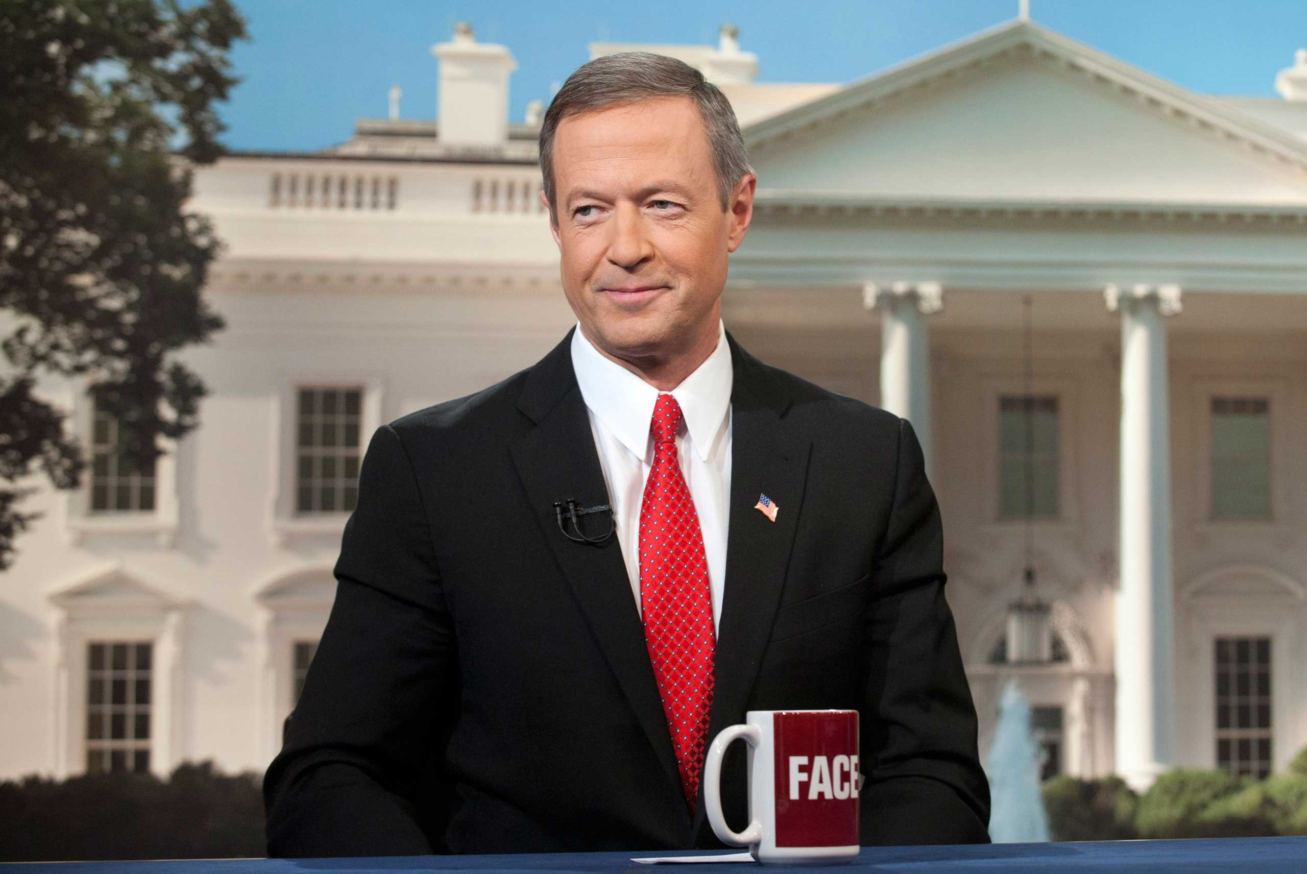 <b>Martin O'Malley</b> Maryland Governor Martin OíMalley ponders decorating ideas in front of his possible future home on CBS's  Face the Nation on Feb. 23, 2014.