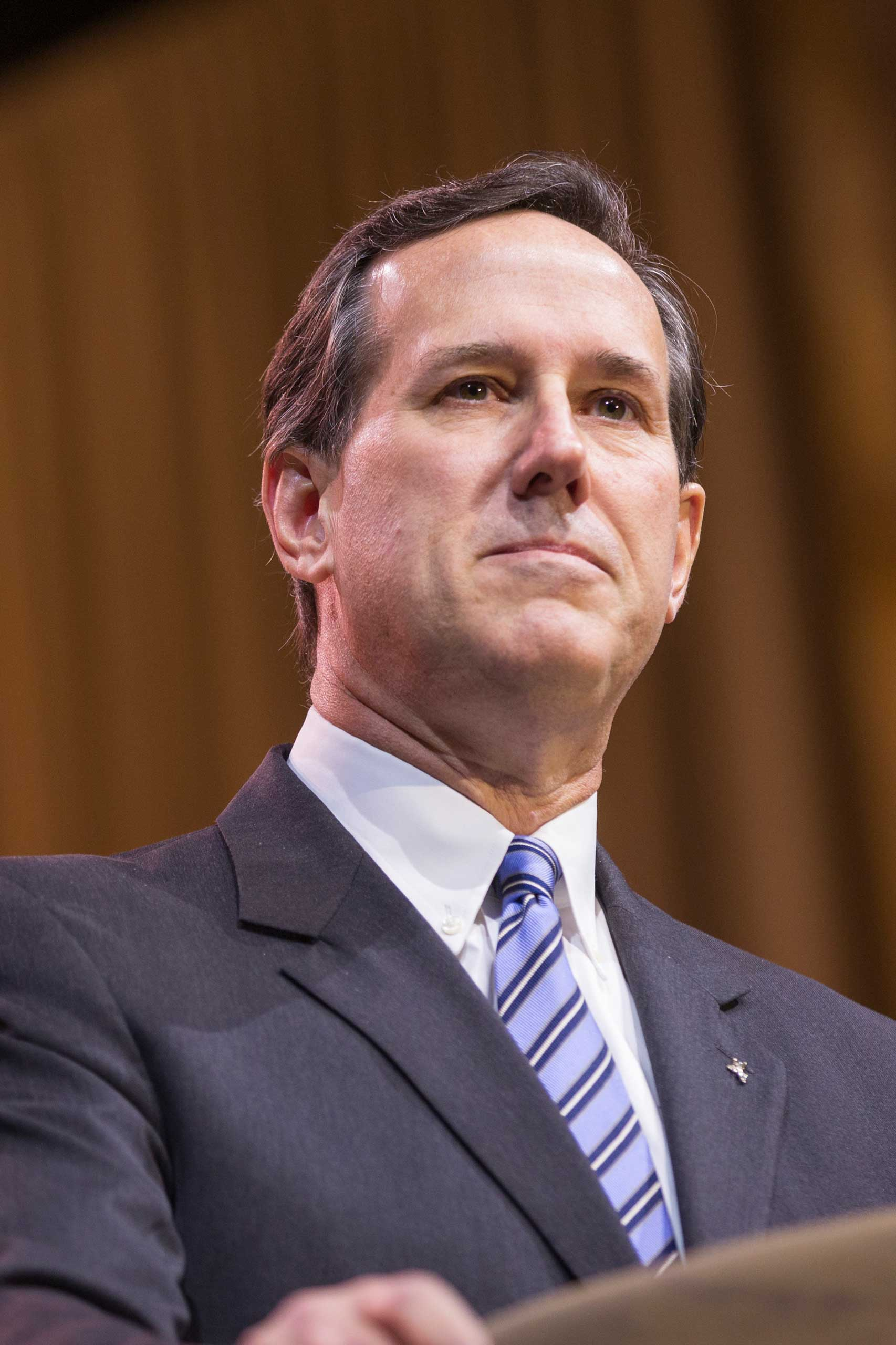 <b>Rick Santorum</b> Former Pennsylvania Senator Rick Santorum looks resolute at CPAC, the Conservative Political Action Conference on March 7, 2014.
