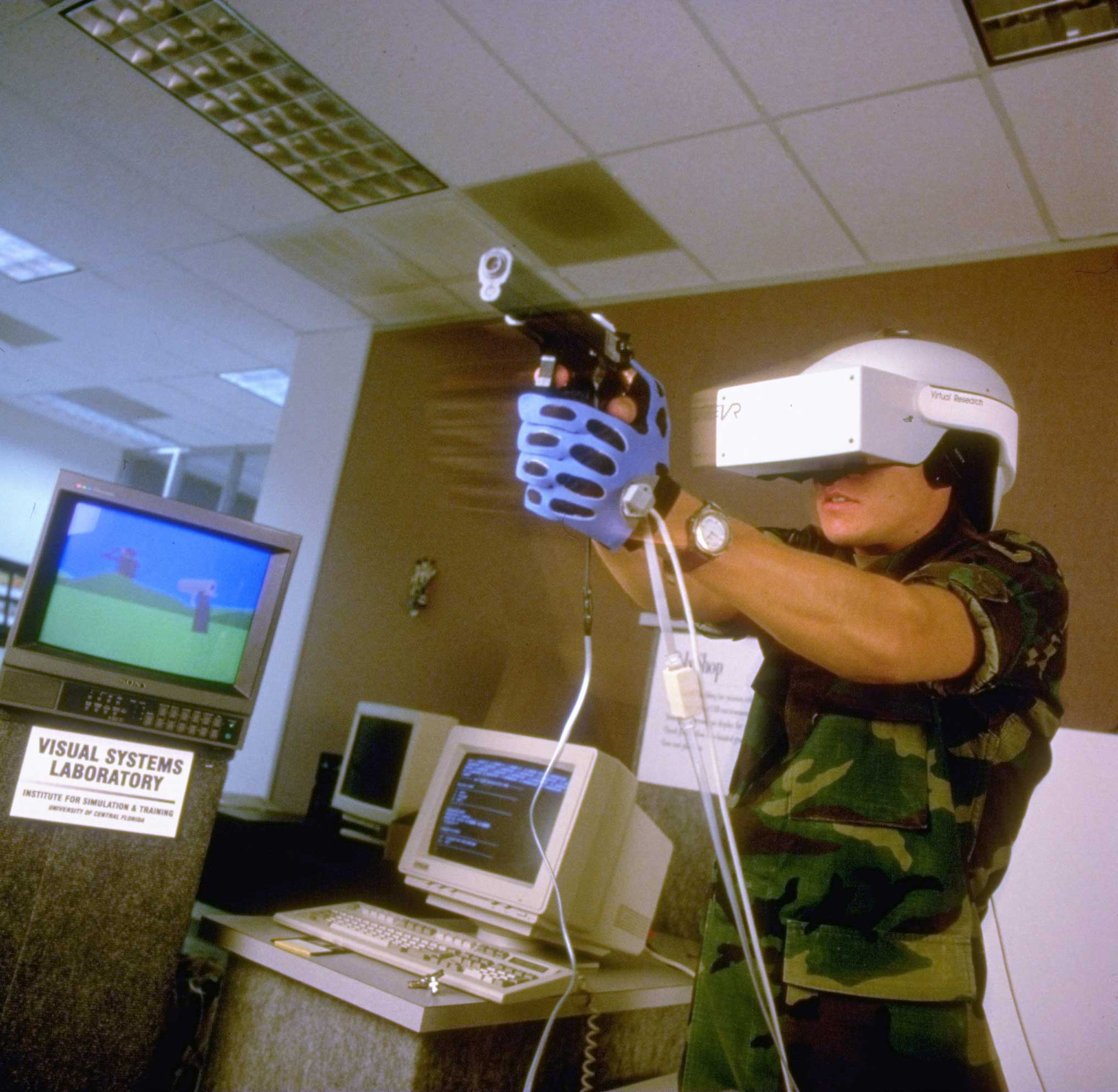 1994                                                              Soldier training using a virtual reality-simulated 3-D shootout at an Army facility.