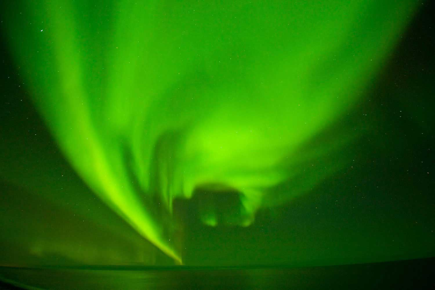 The aurora borealis flare over the Arctic National Wildlife Refuge in North Slope, Alaska, on Aug. 28, 2013. The brilliant summertime sky-show was the result of what may be the peak of an 11-year solar cycle.
