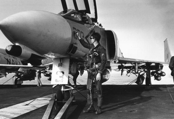 A U.S. Navy pilot readies his F-4 aboard the carrier USS Constellation in the Gulf of Tonkin during the Vietnam war Vietnam.