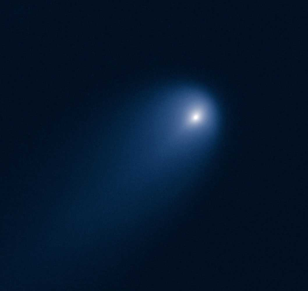 Comet  ISON photographed on April 10, 2013, by NASA's Hubble Space Telescope when the comet was 394 million miles from Earth.