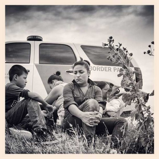 McAllen, Texas. A group of women and two unaccompanied children are detained on a levee. Exhausted and hungry the group appeared relieved to be found. It turned out they had travelled from Guatemala and Honduras together. Part 1 of My film 'The Fence' comes out this coming Monday @msnbcphoto