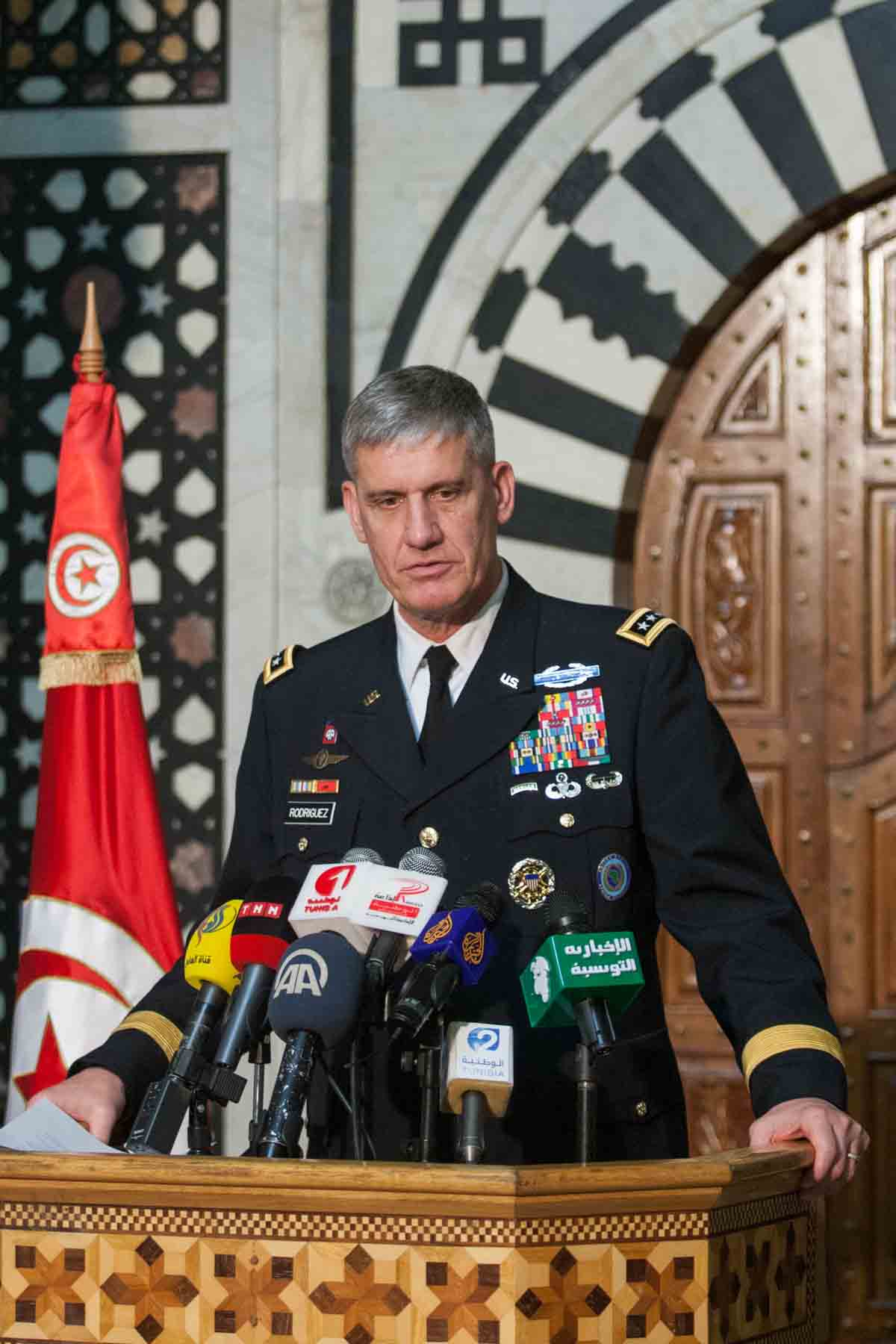 United States Army General David M. Rodriguez serving as the Commander for United States Africa Command (AFRICOM) meets with Ali Laarayedh (Not seen), the Tunisian PM, on Nov. 21 in Tunisia.