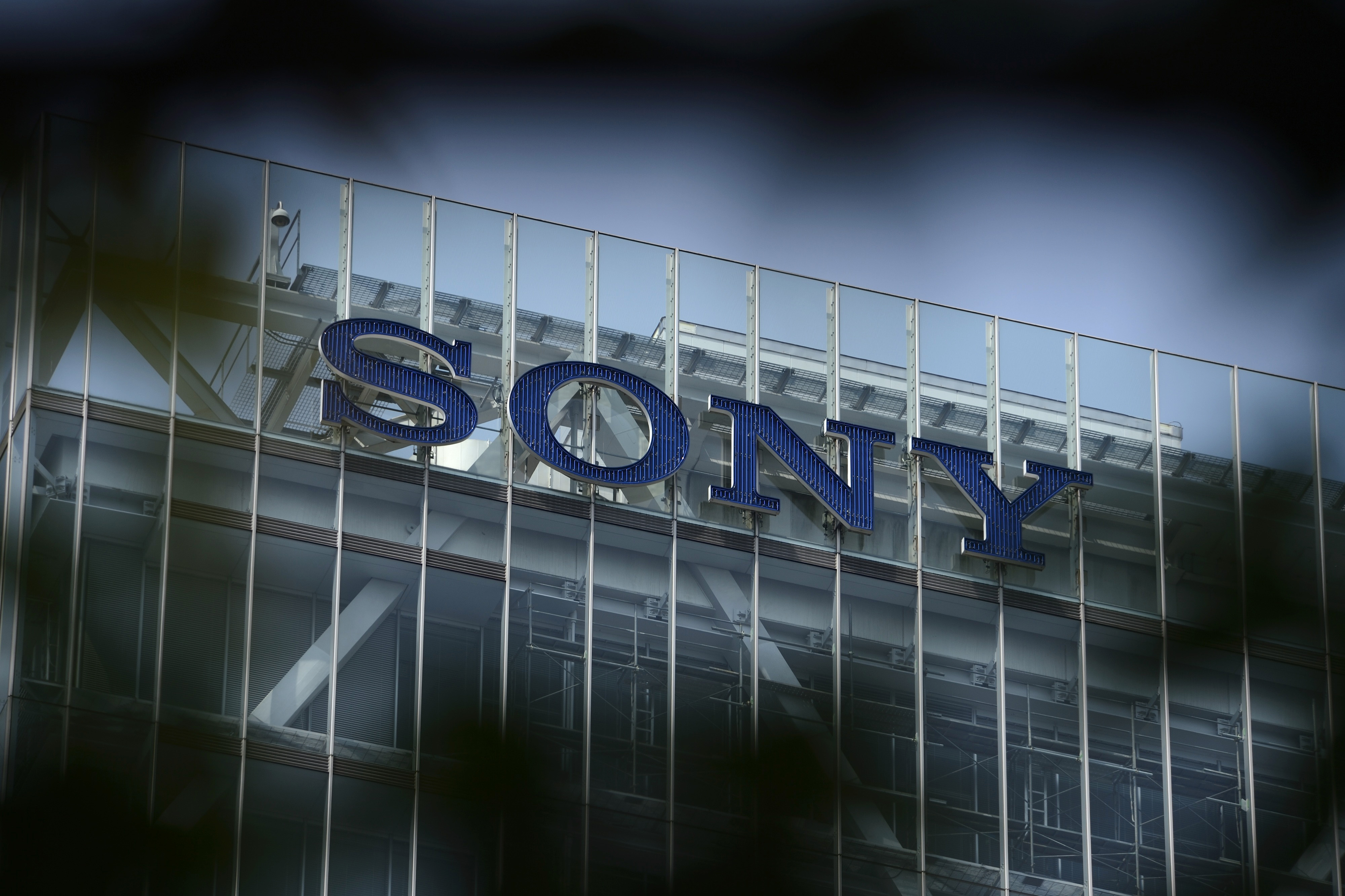 Sony Corp. signage is displayed atop the company's headquarters in Tokyo, Japan, on Thursday, July 31, 2014.